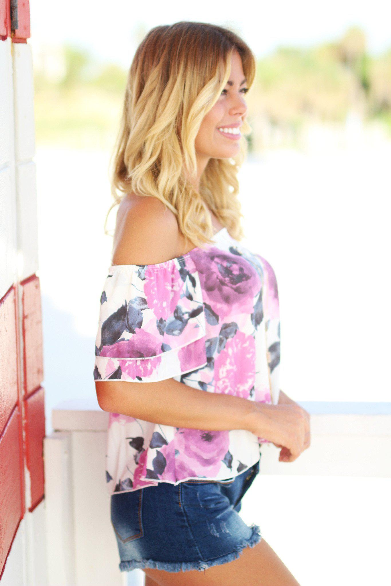Lilac Floral Off Shoulder Top