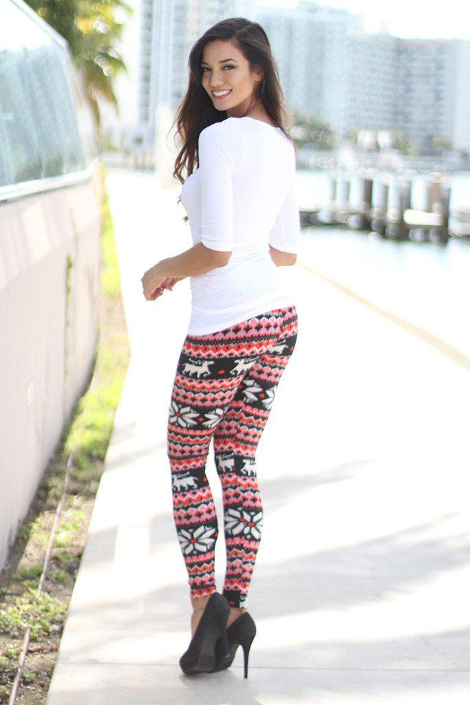 Black And Red Print Leggings