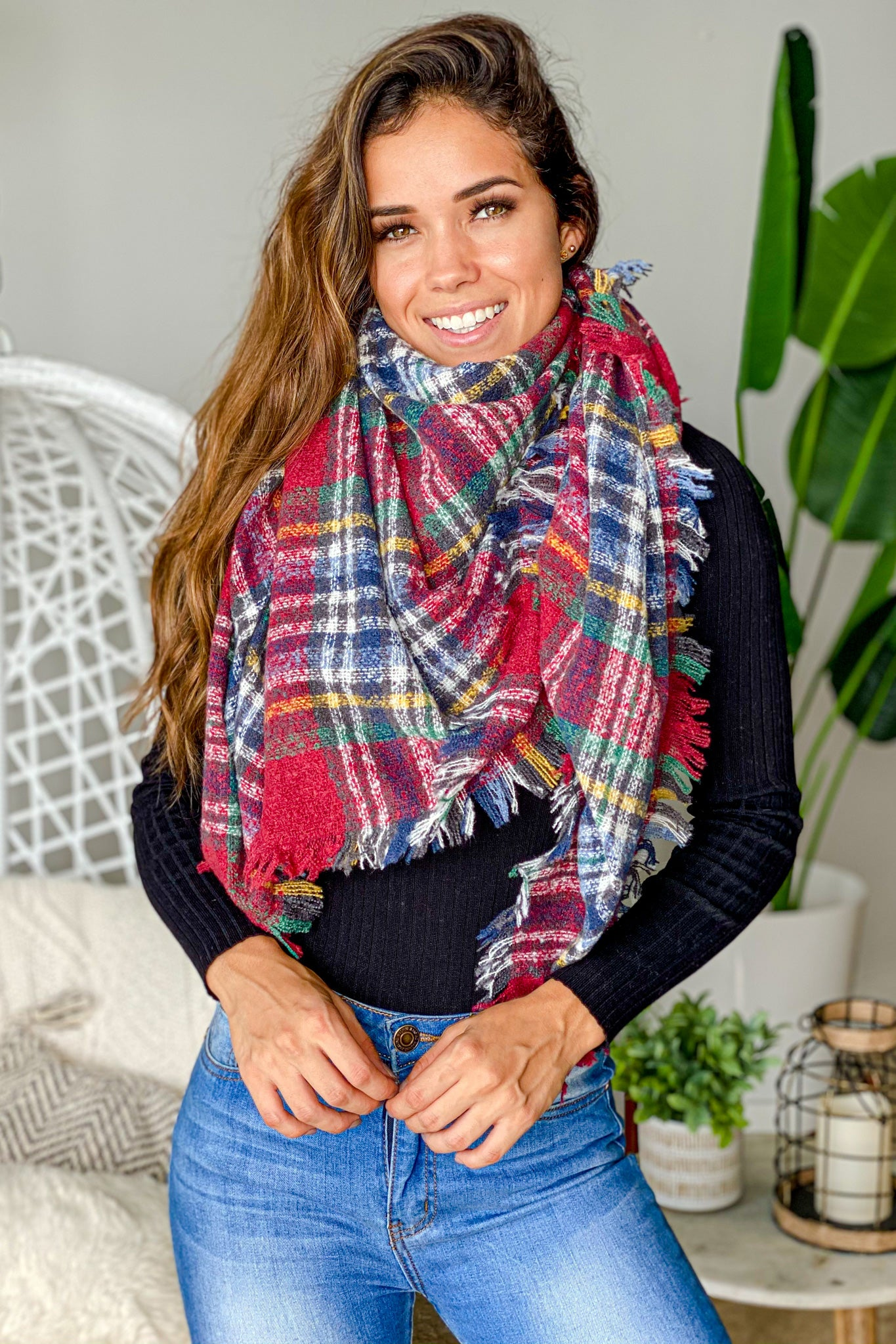 Red And Blue Plaid Blanket Scarf Cute Scarves Saved By The Dress