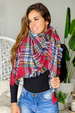 red and blue scarf