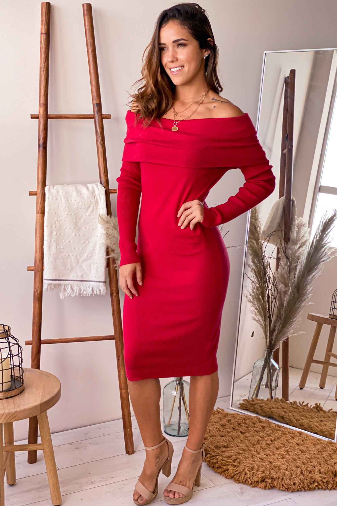 red casual midi dress