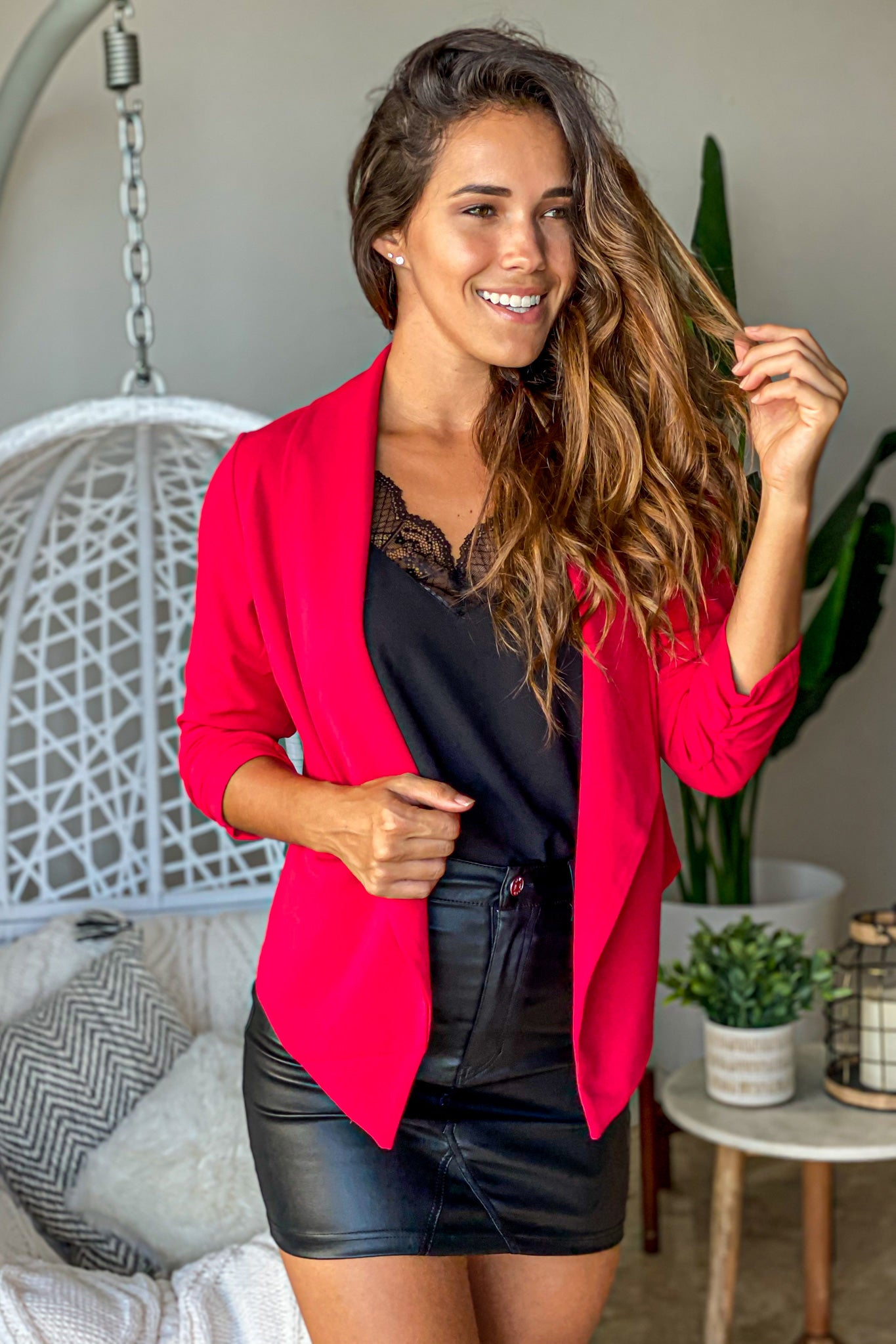 red classic open blazer