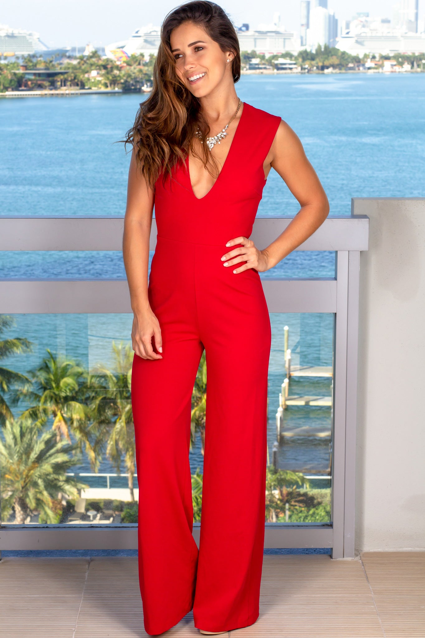 red classy jumpsuit