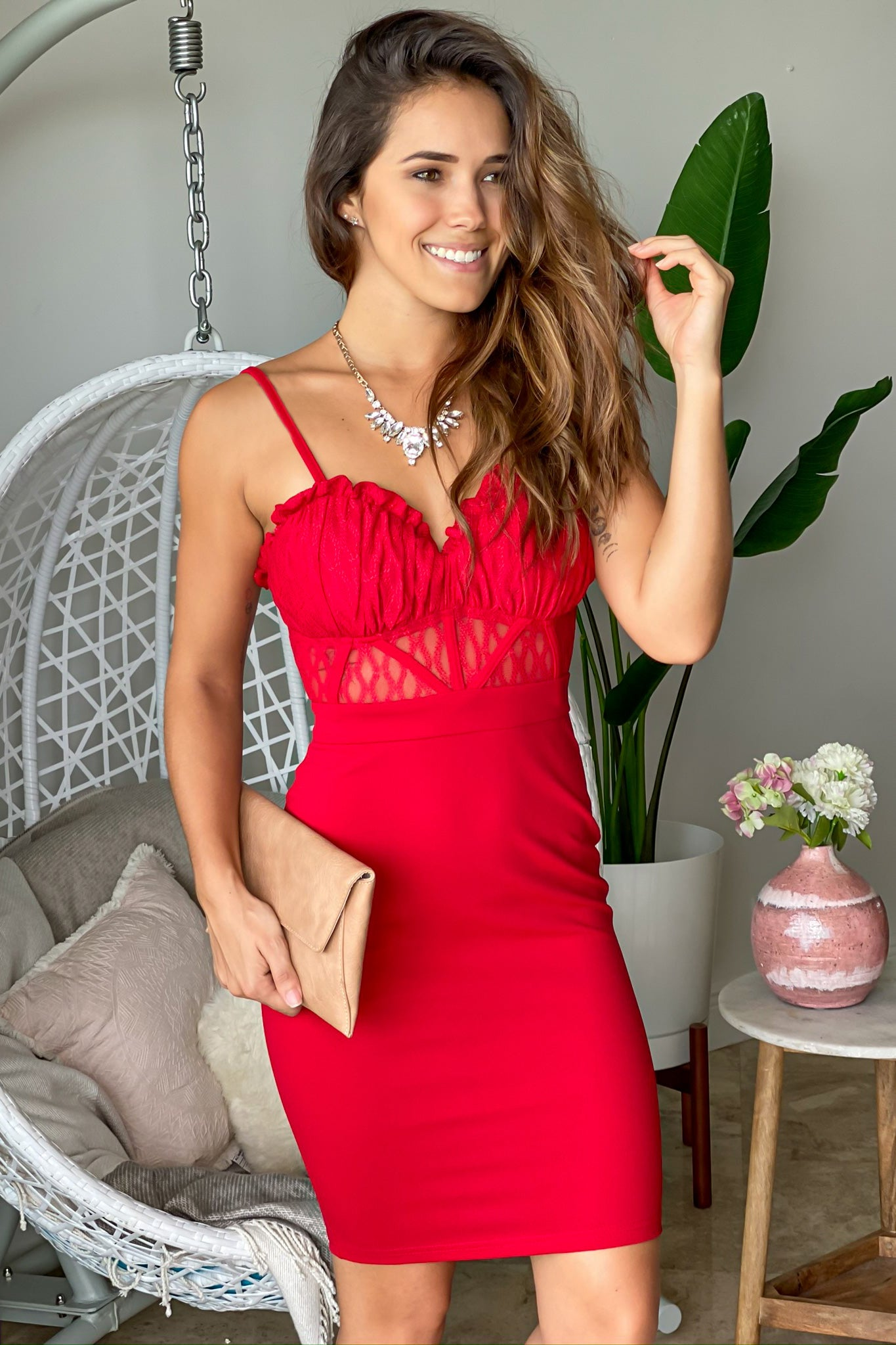 Red Sleeveless Bodycon Short Dress