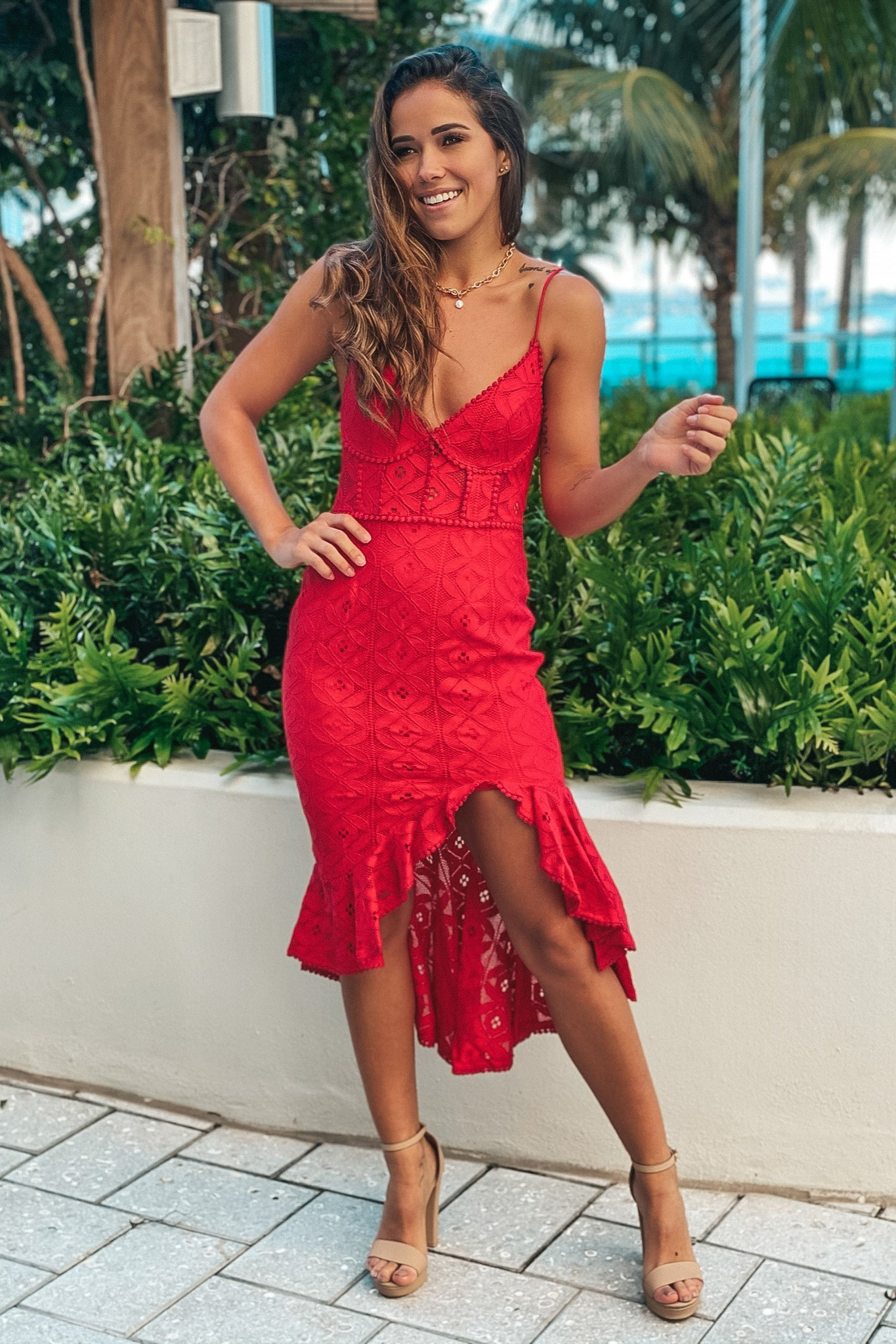 red lace ruffled high low dress