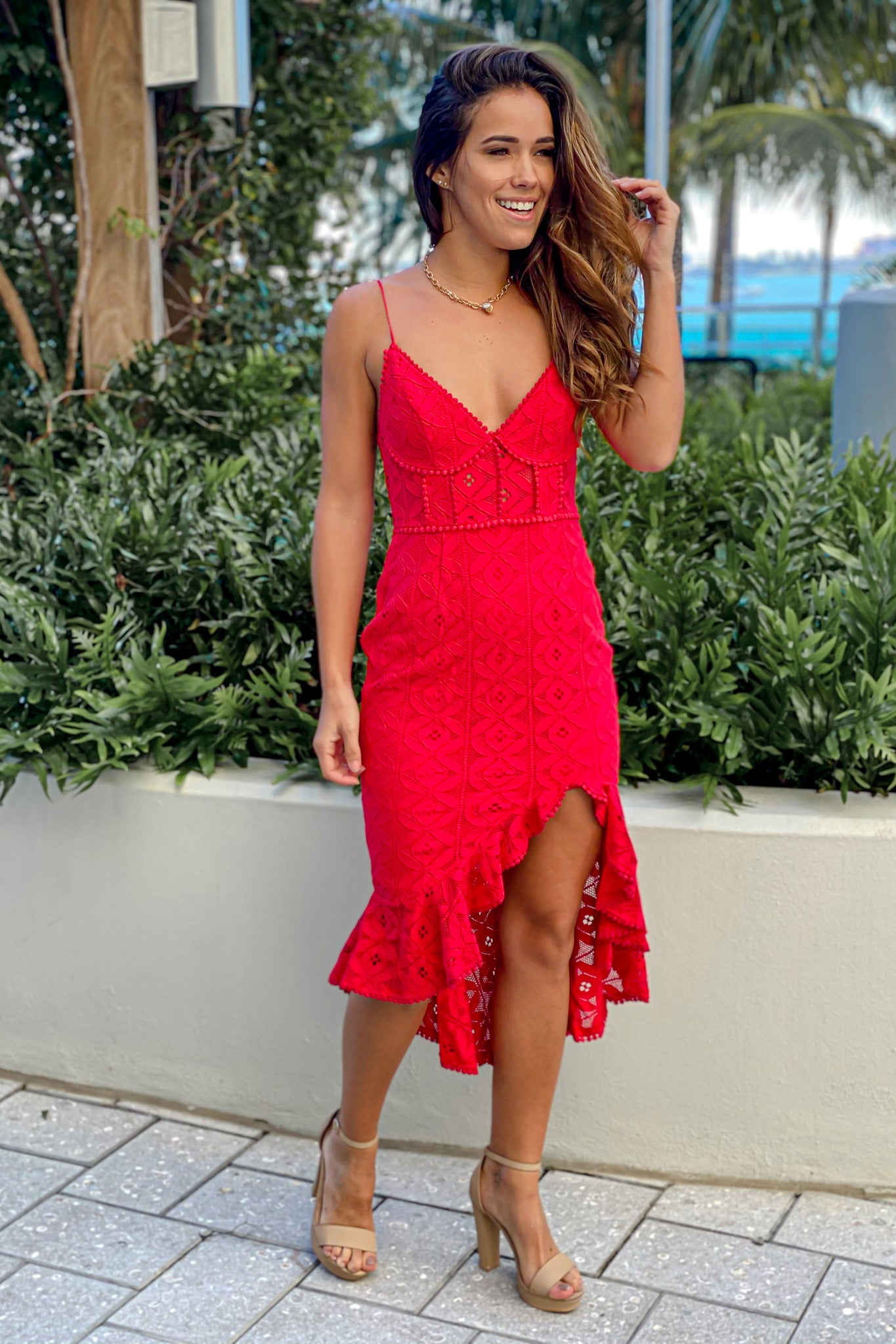 red party high low dress