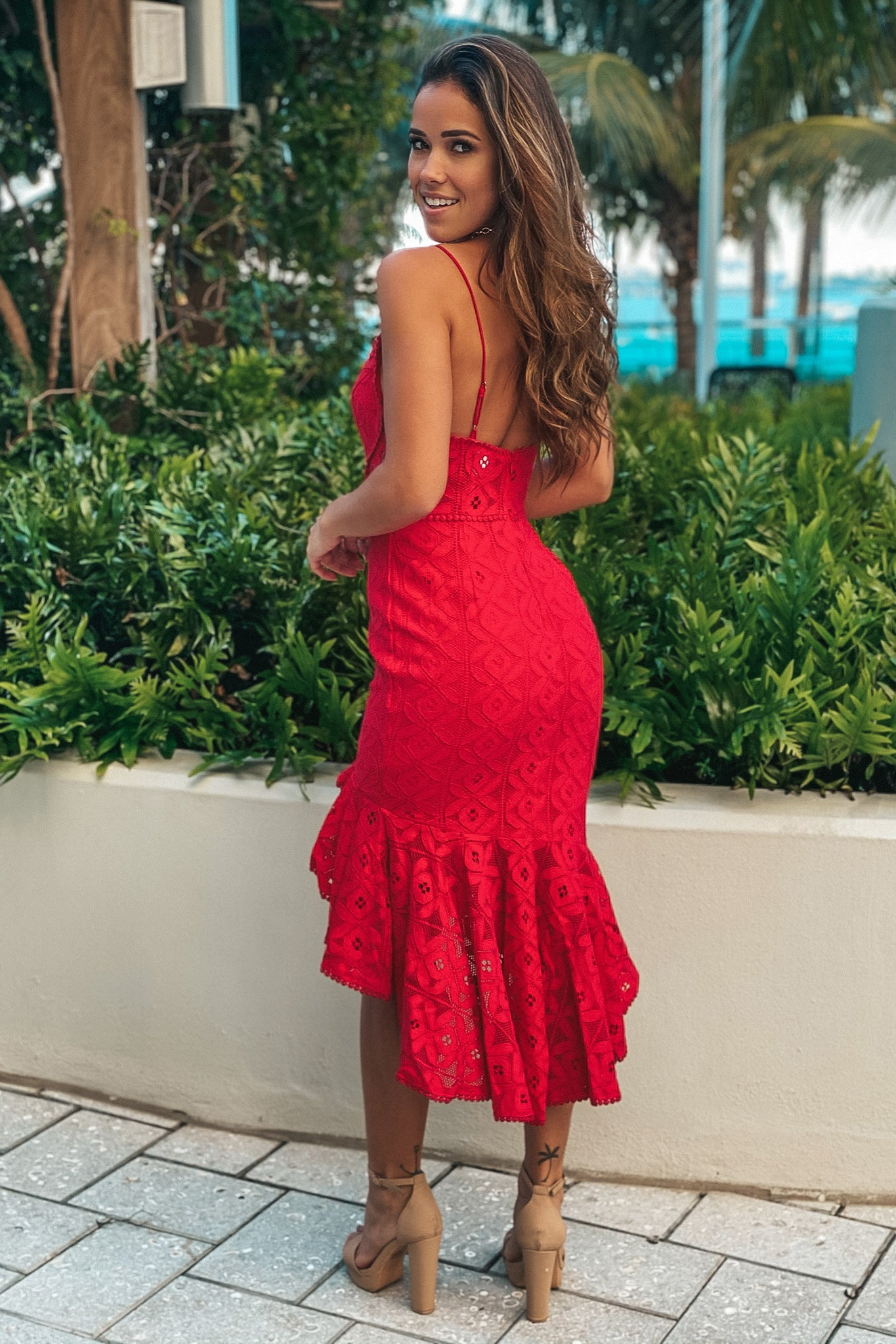 red ruffled high low dress