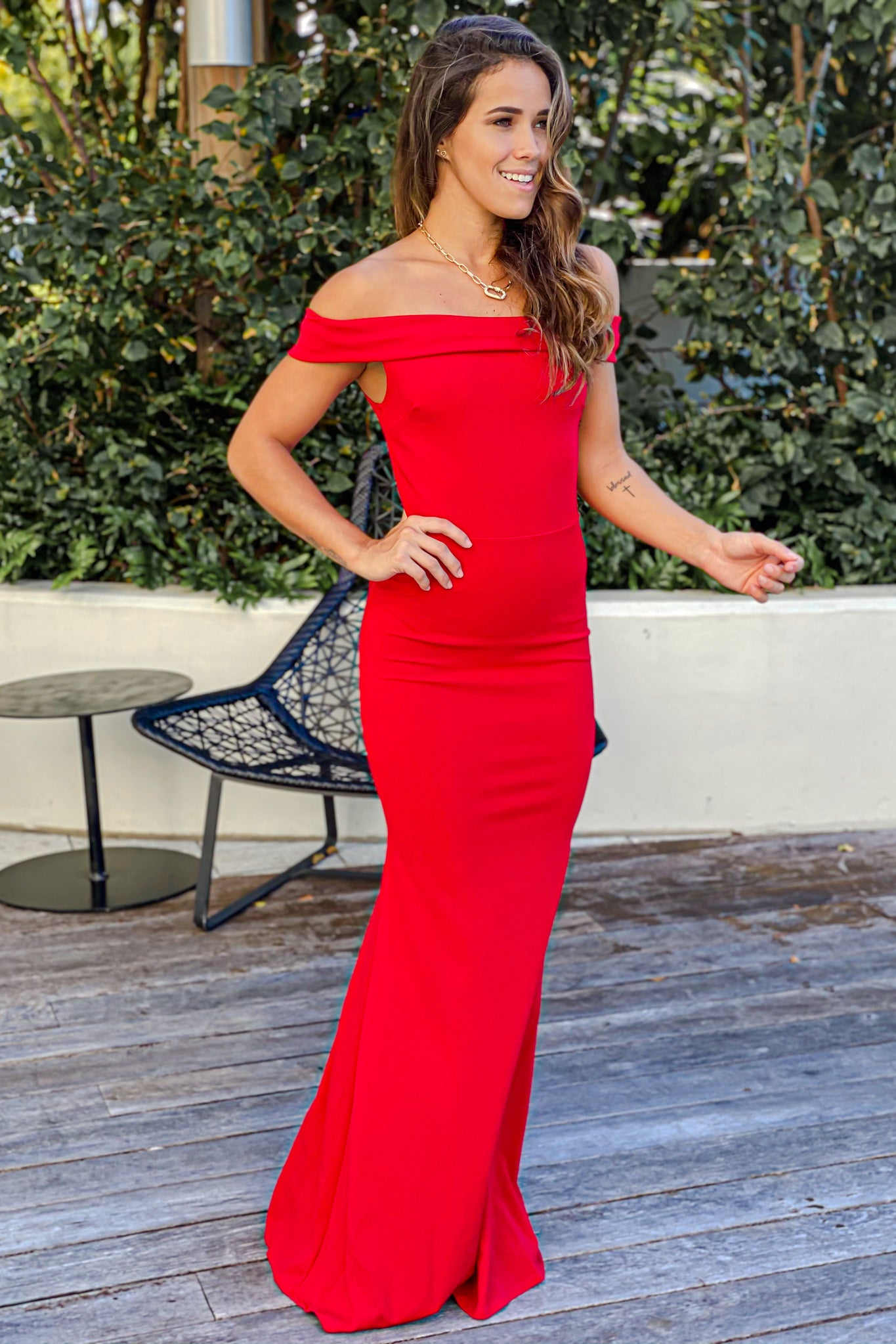 red wedding guest dress