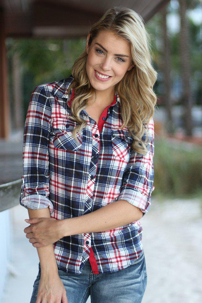 Navy And Red Plaid Top