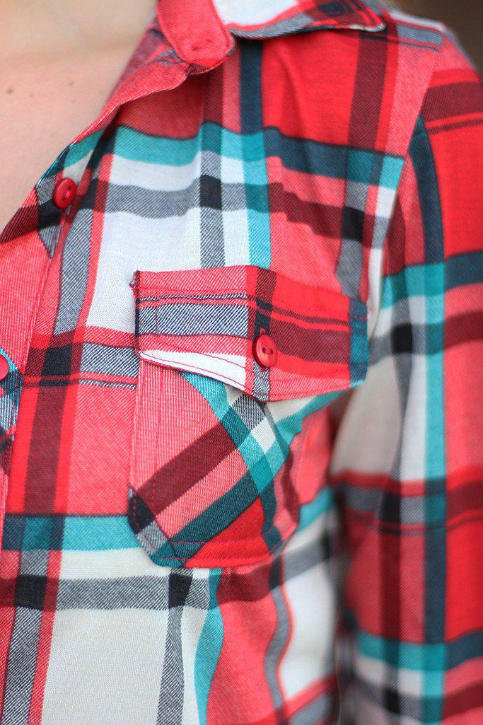 Red and Teal Plaid Top
