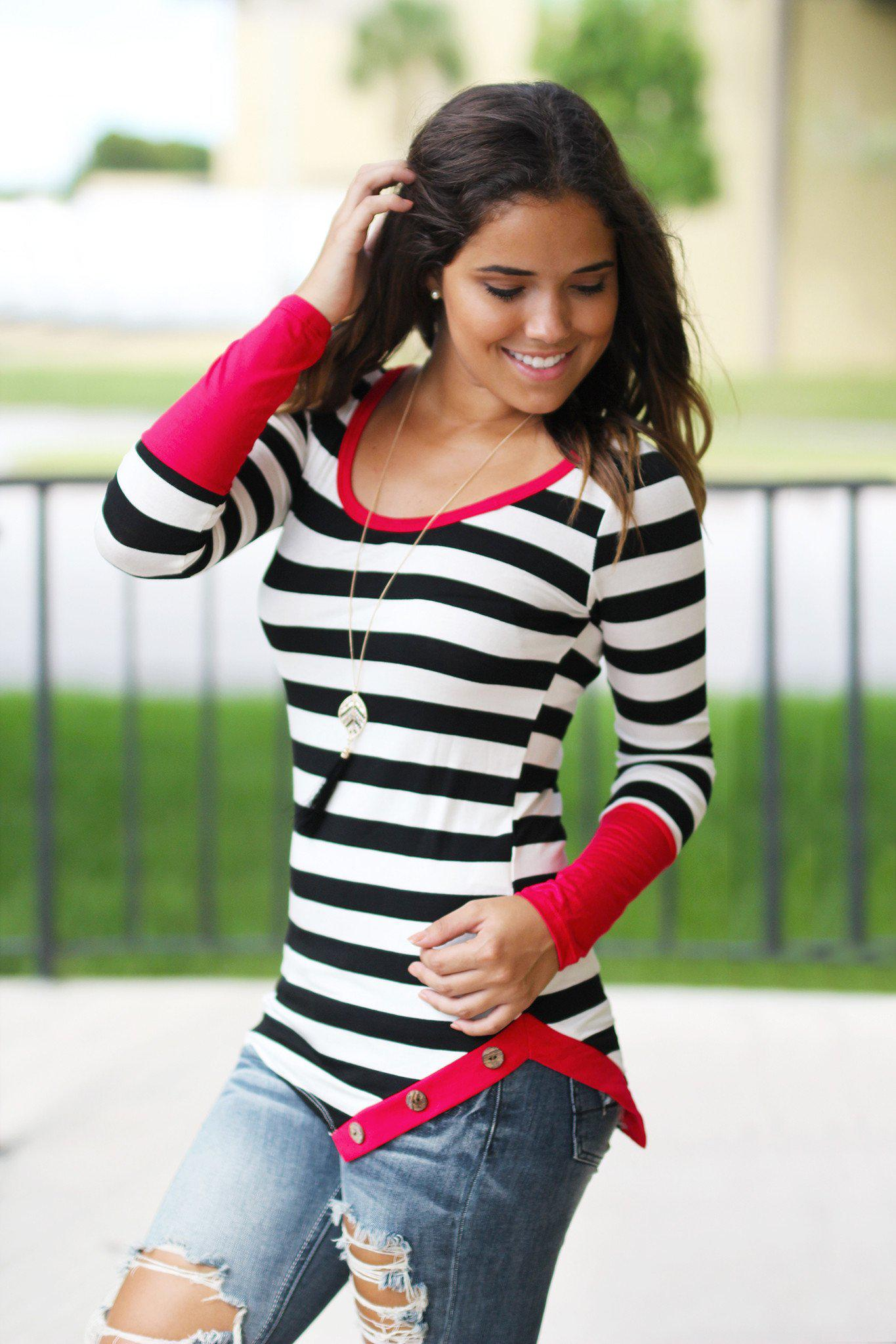 Red Striped Top With Buttons