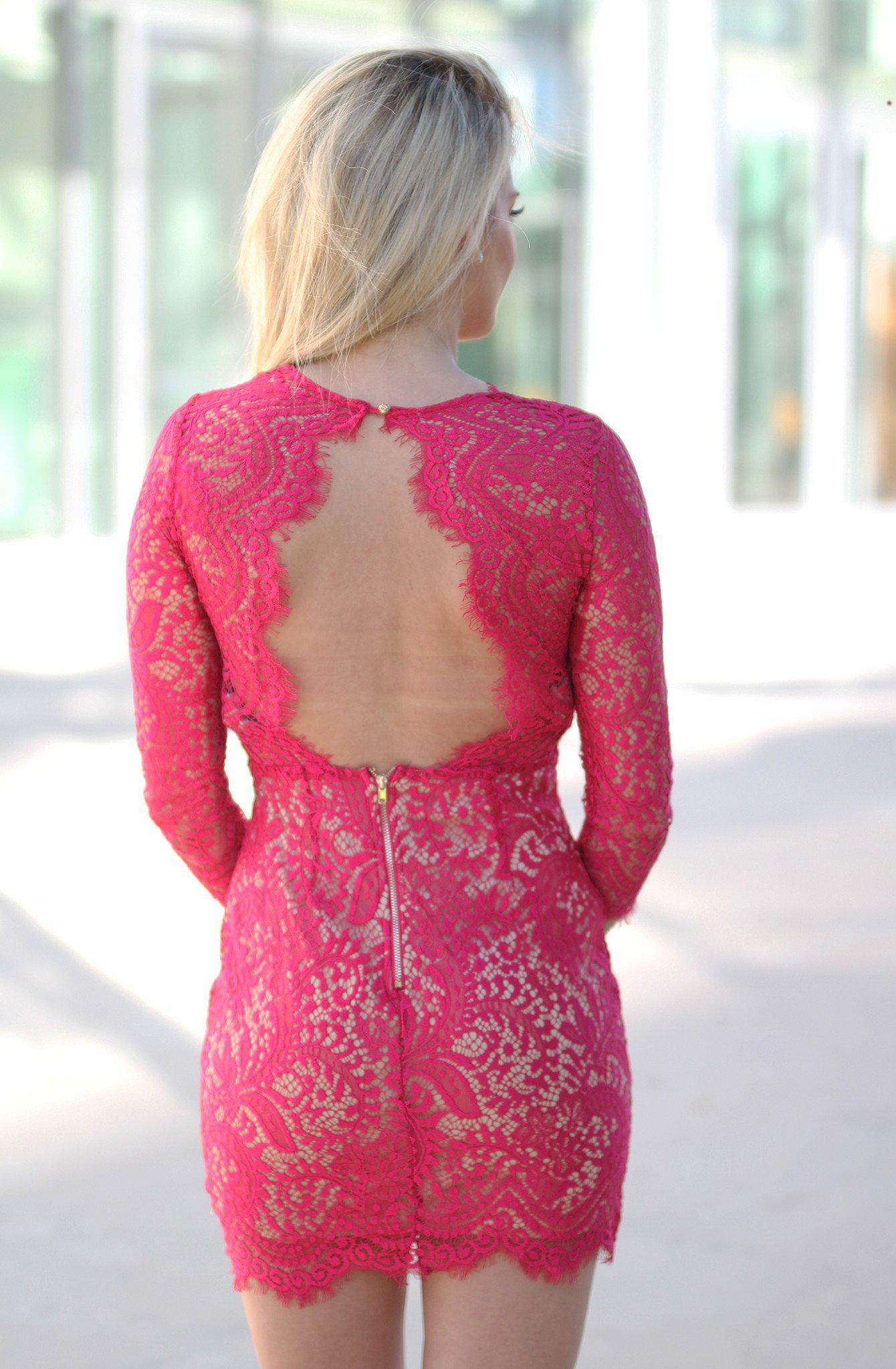 Red Lace Dress with Open Back