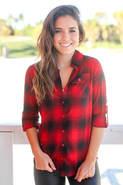 Red and Black Flannel Top
