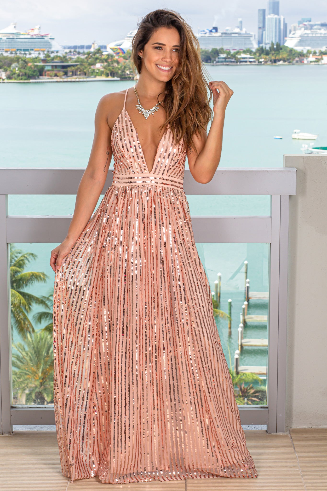 rose gold bridesmaid maxi dress