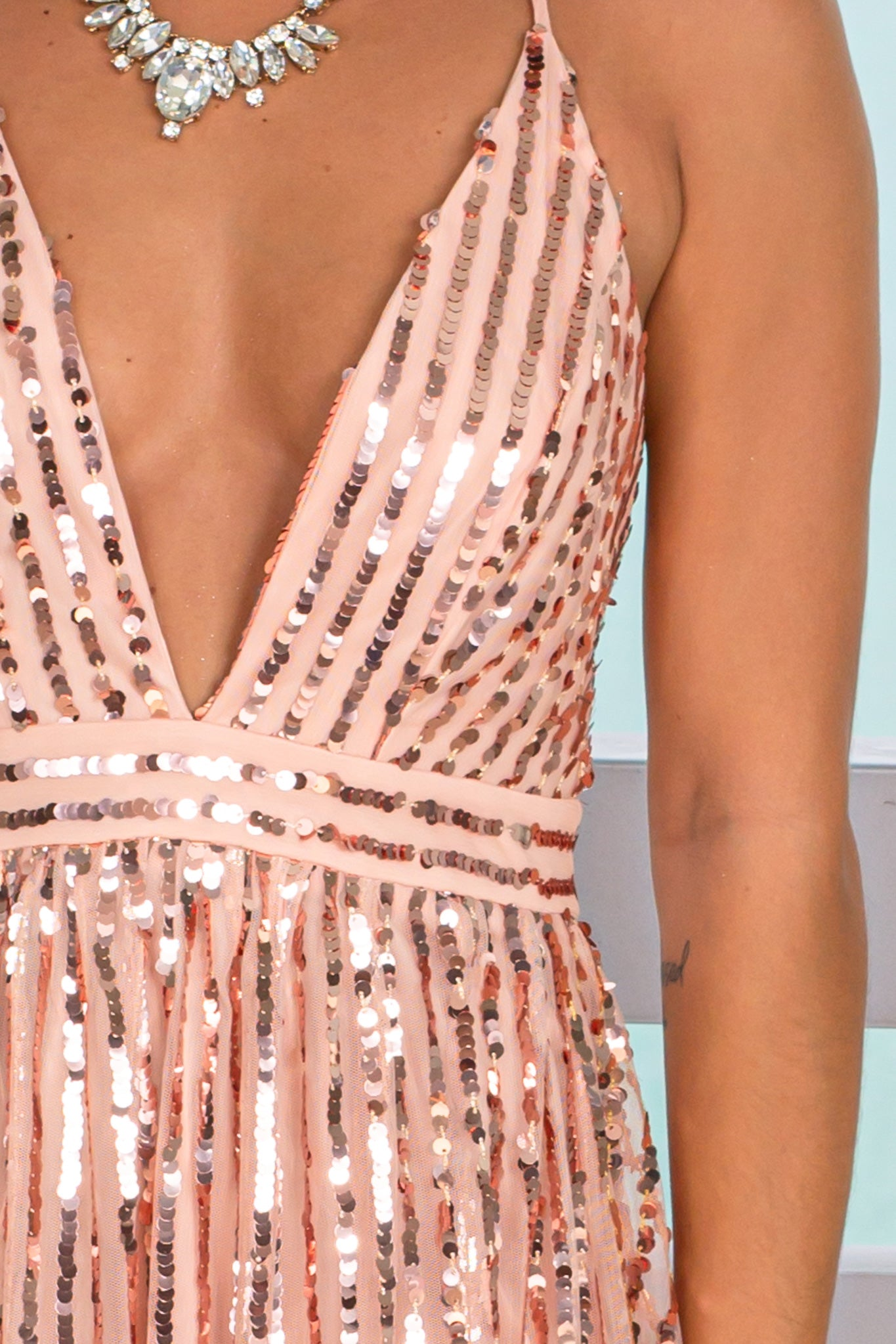 rose gold formal maxi dress