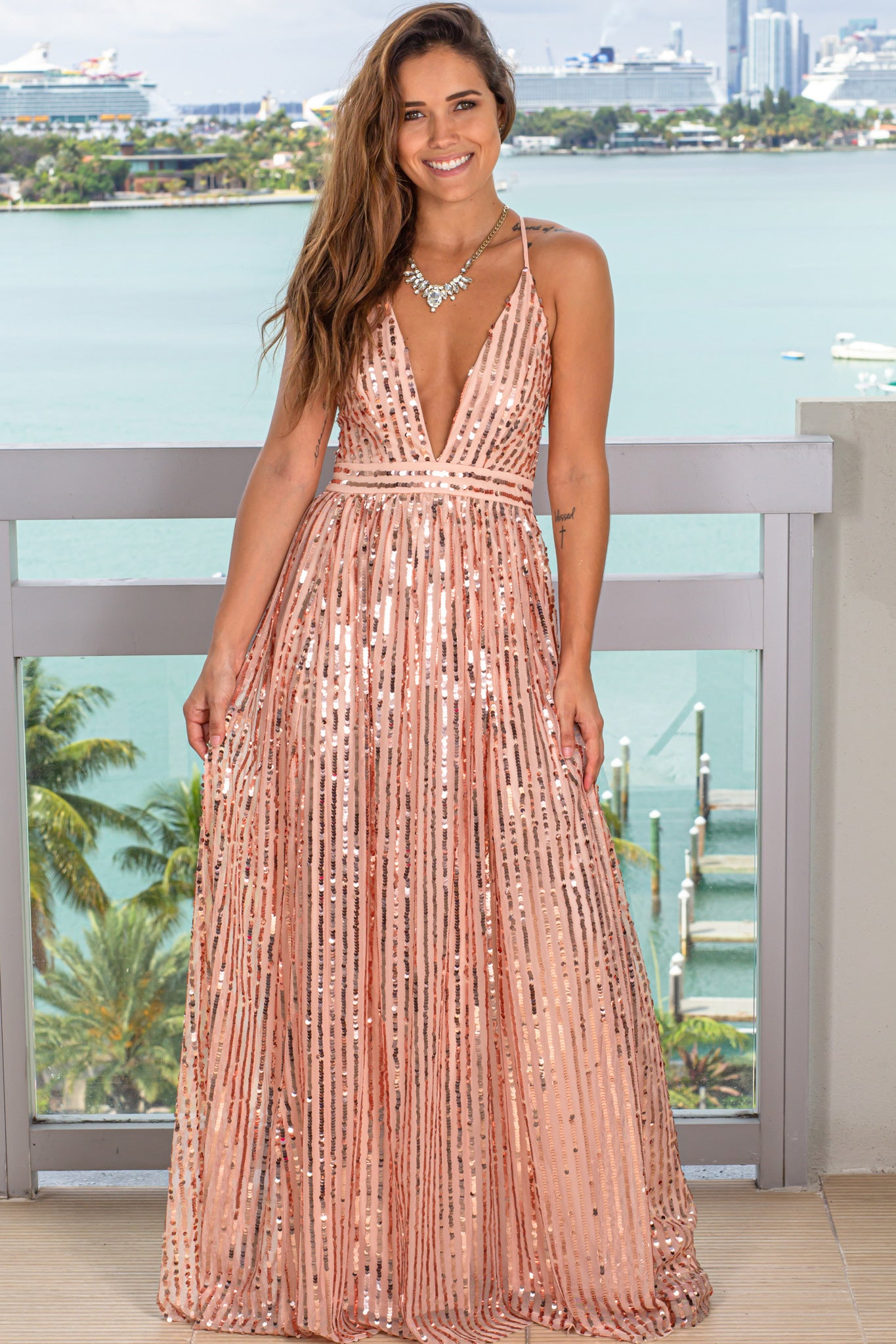 rose gold v-neck maxi dress with sequins
