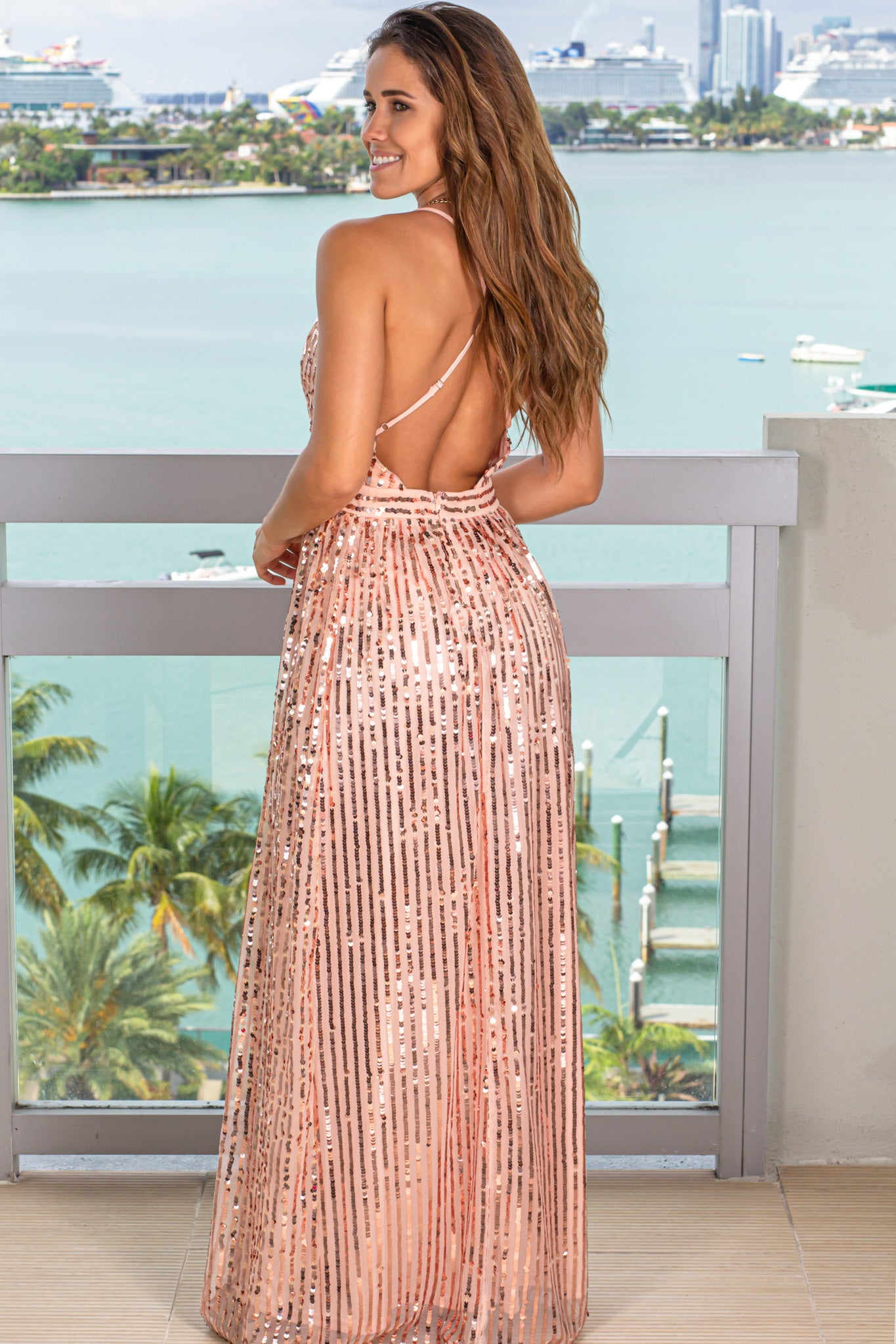 rose gold wedding guest dress