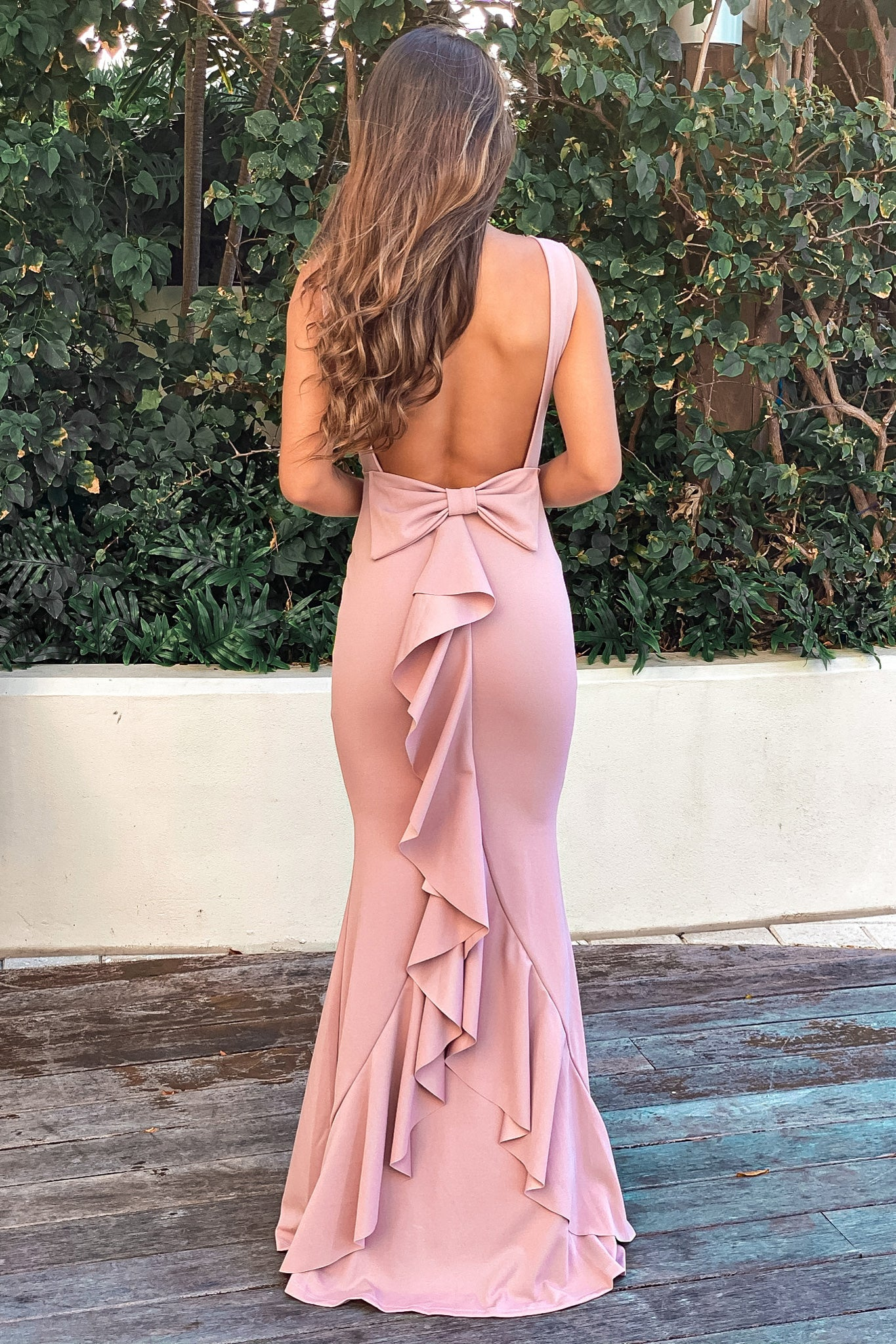 rose maxi dress with bow detail