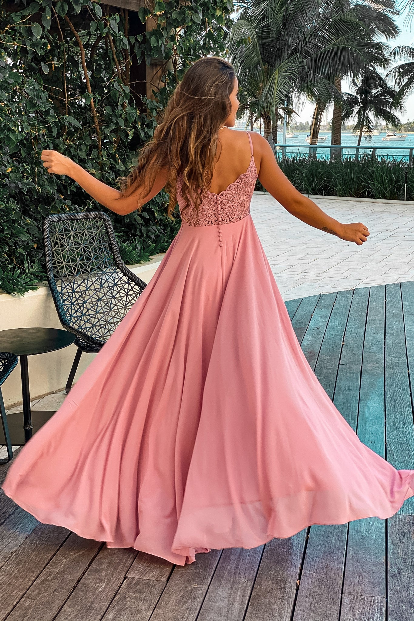 rose maxi dress with embroidered back and button detail