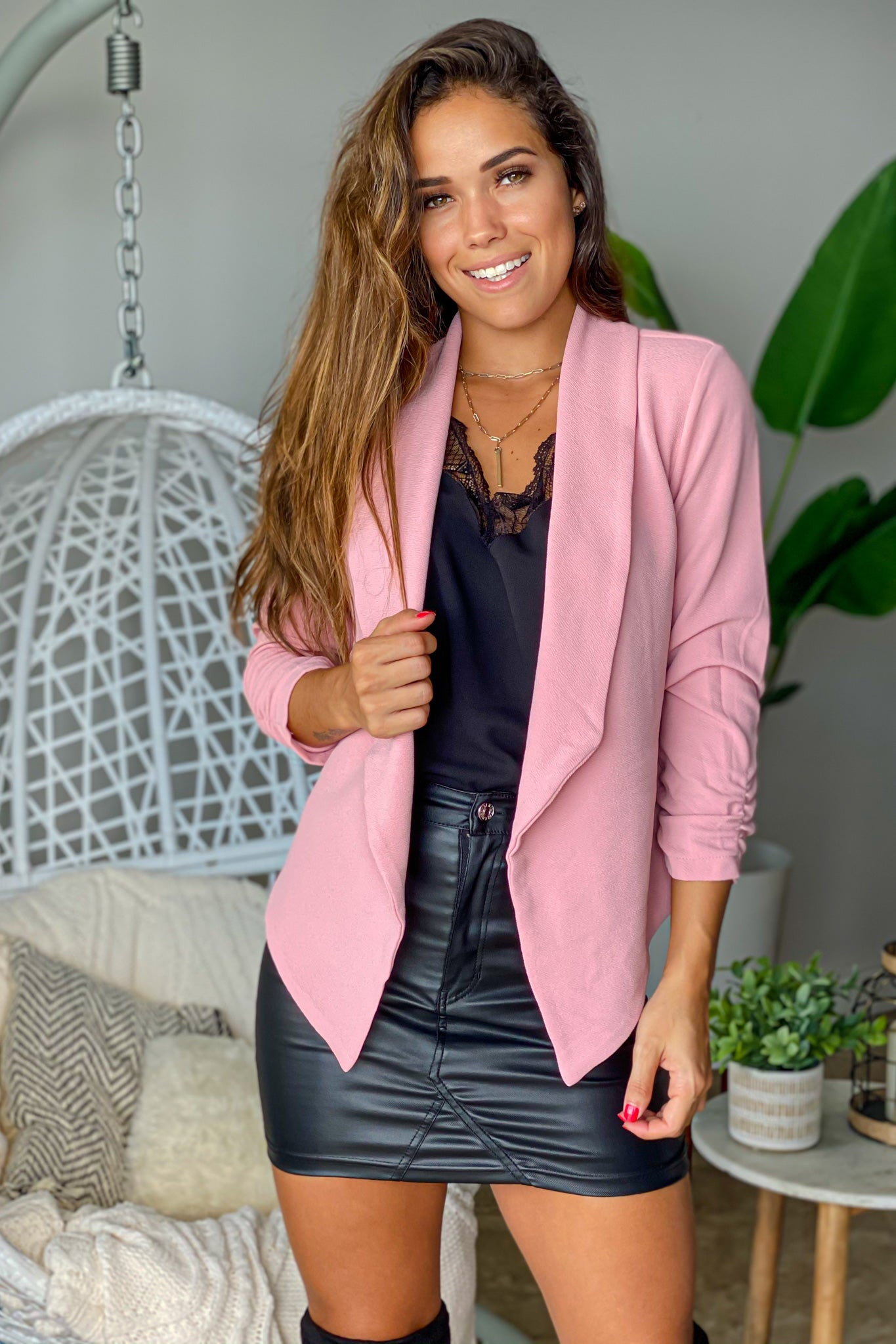 rose ruched blazer