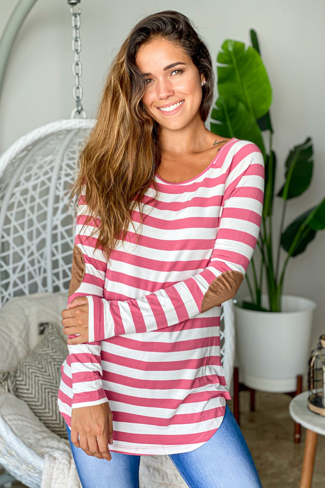 rose striped long sleeve top with elbow patches