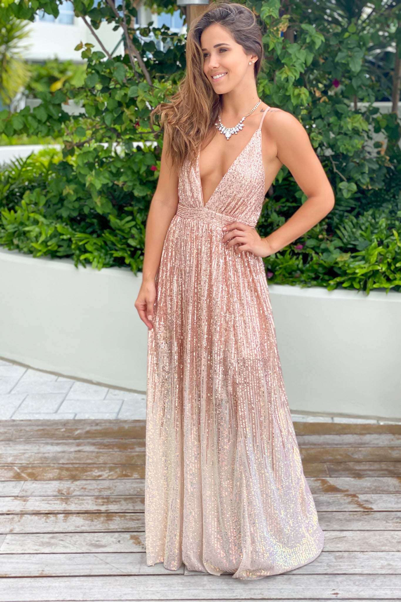 rosegold bridesmaid dress