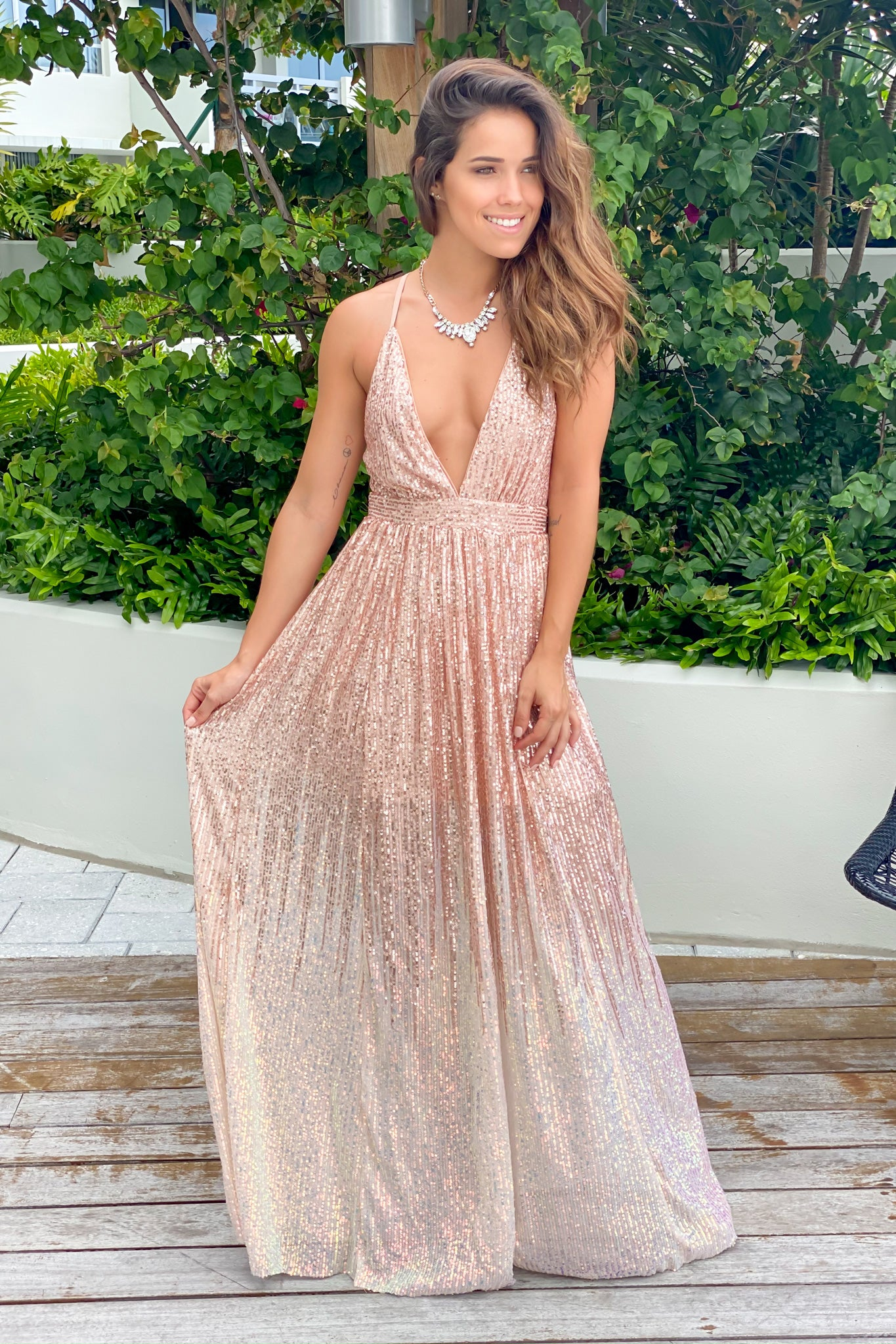 rosegold long dress