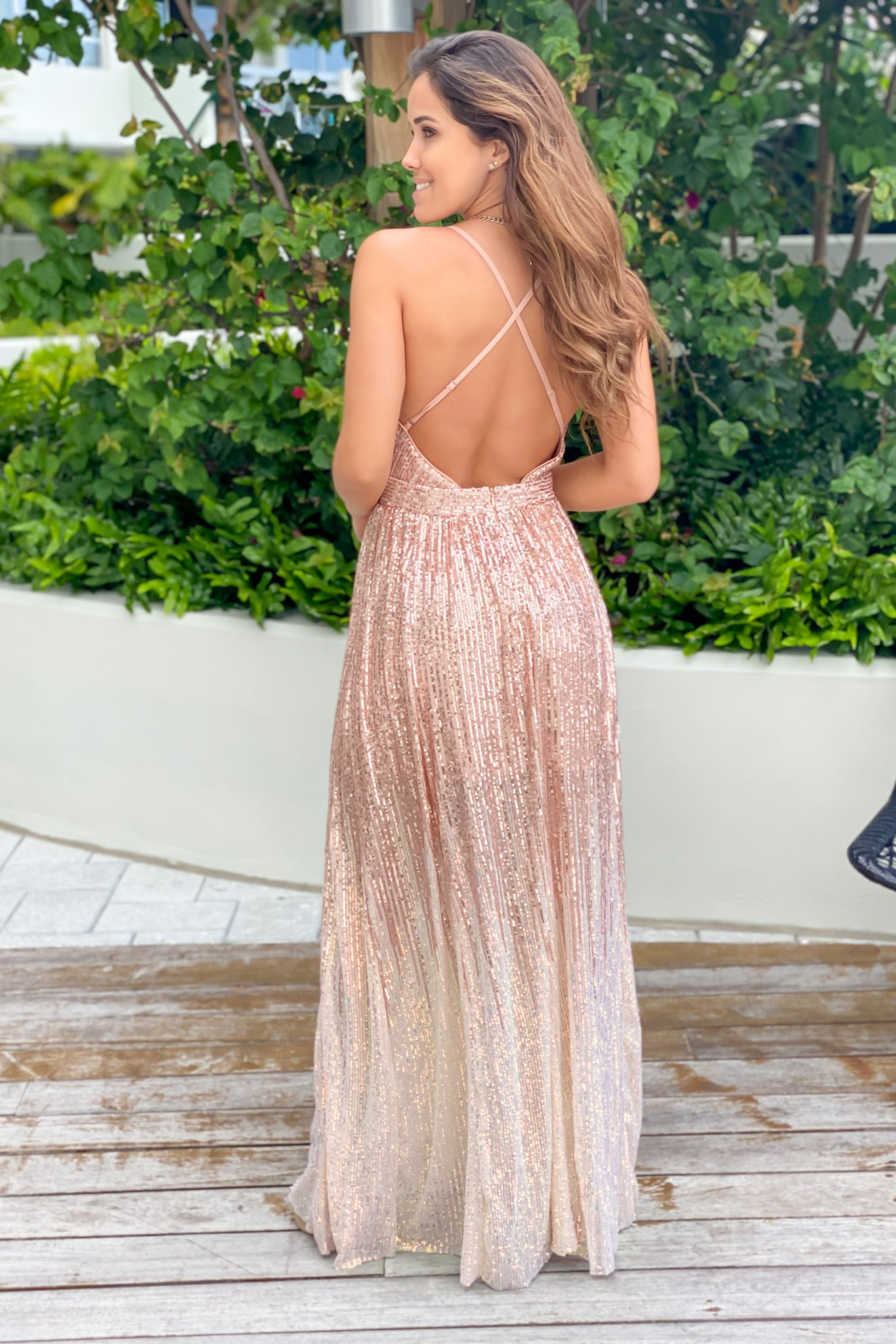rosegold maxi dress with open back
