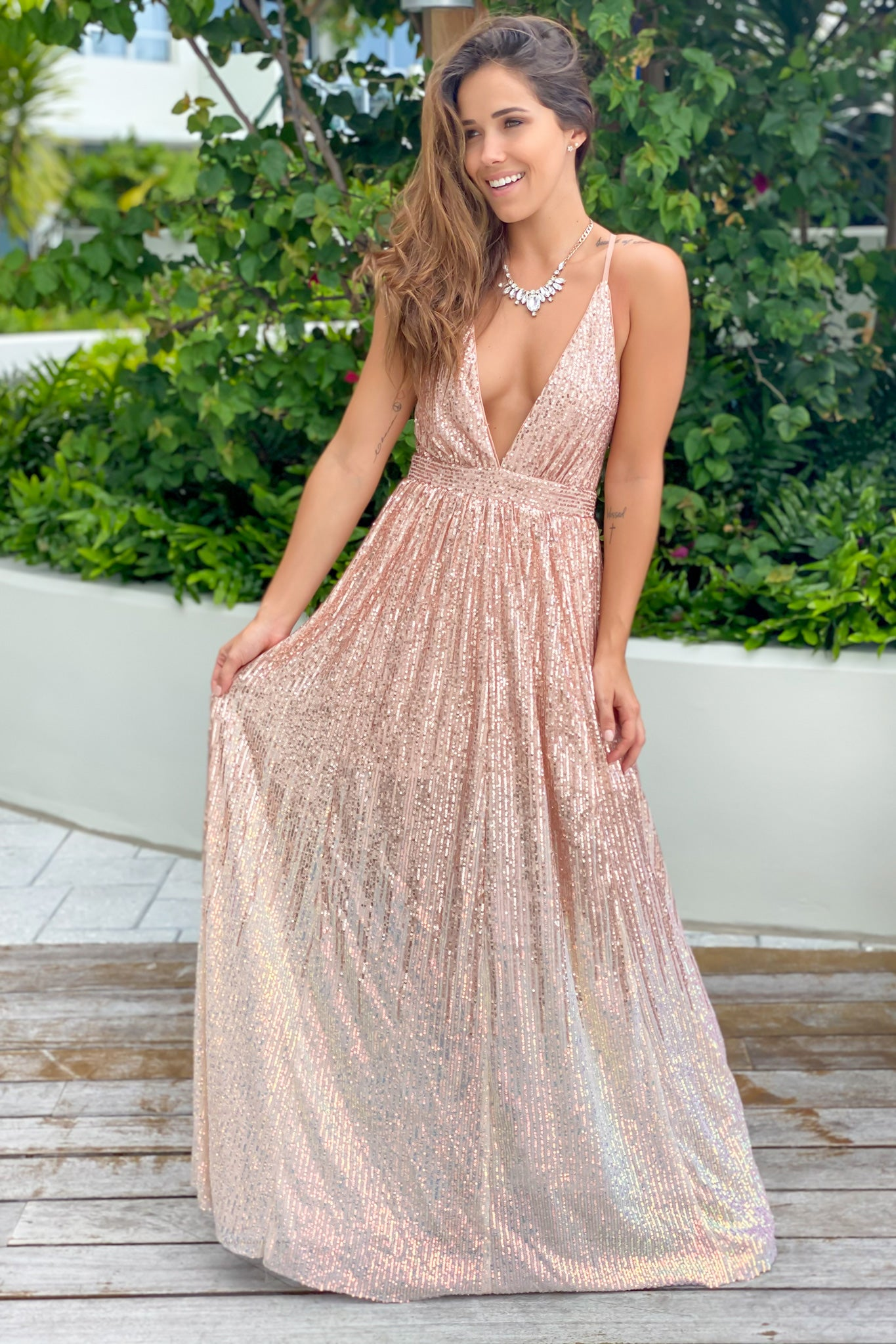 rosegold prom maxi dress