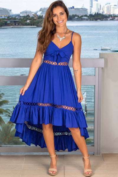 Royal Blue High Low Dress with Tie Front
