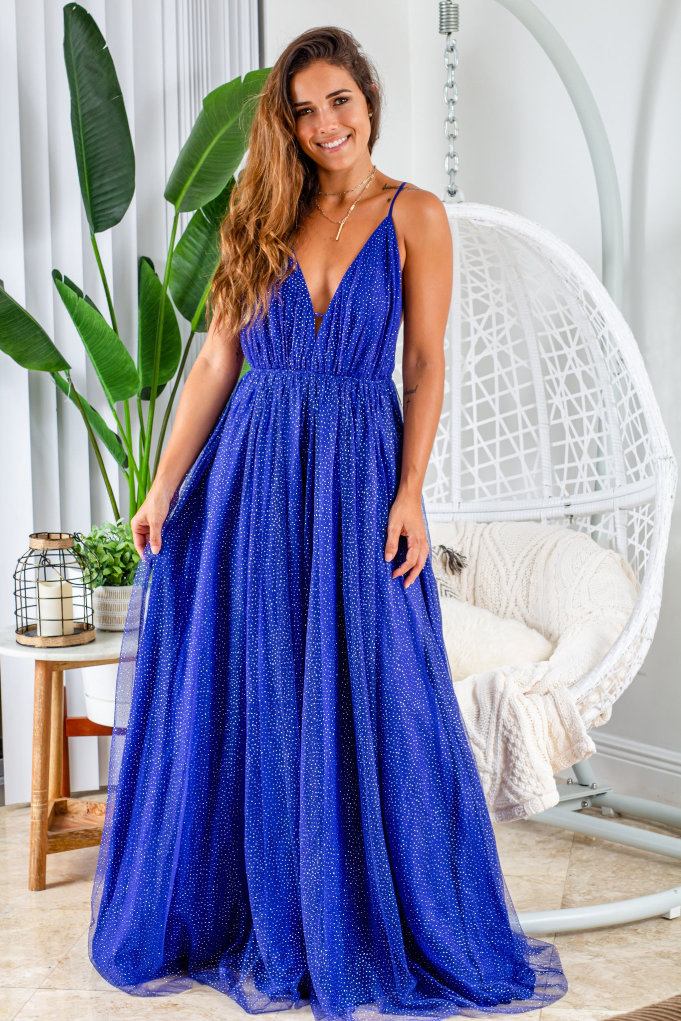 royal blue maxi dress with gold glitter mesh