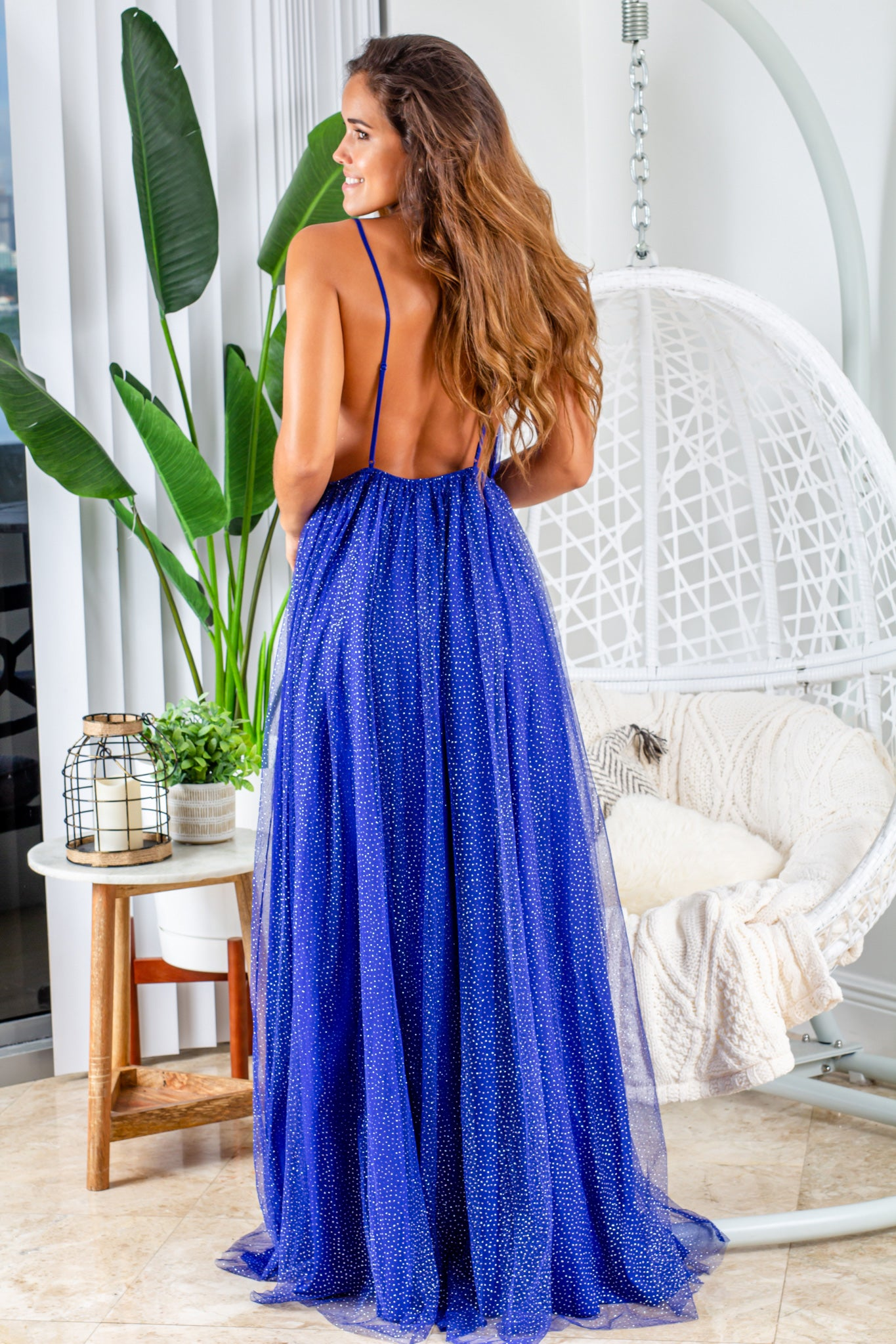 royal blue open back maxi dress