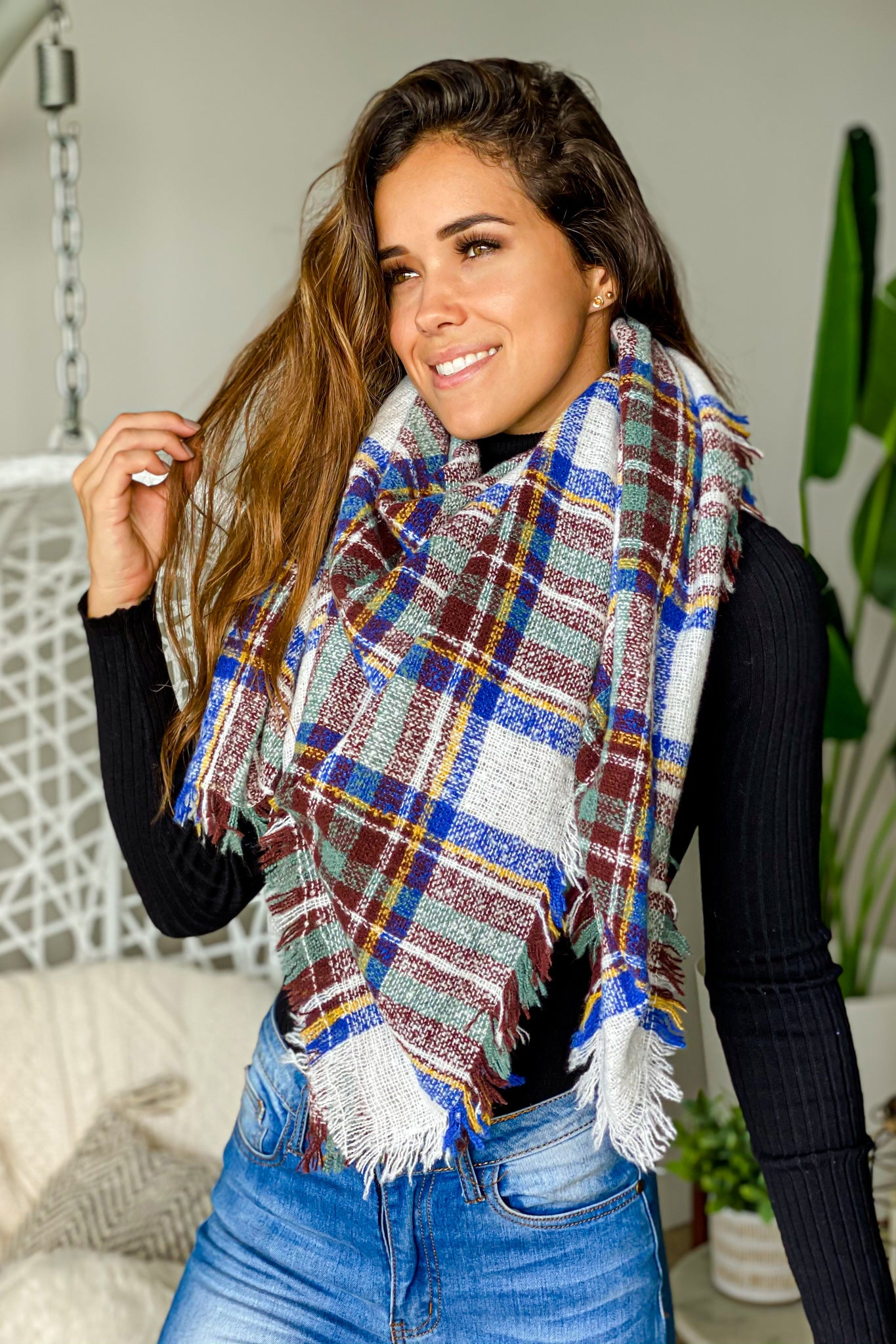 royal blue plaid scarf