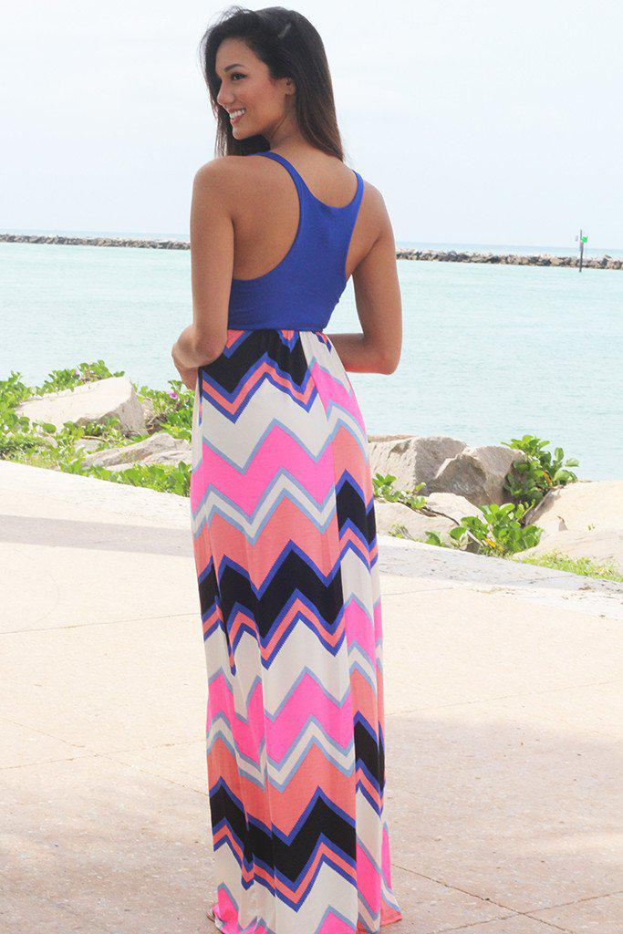Royal Blue Chevron Maxi Dress