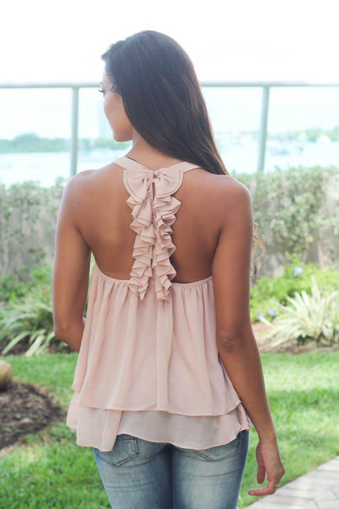 Almond Top With Ruffle Back
