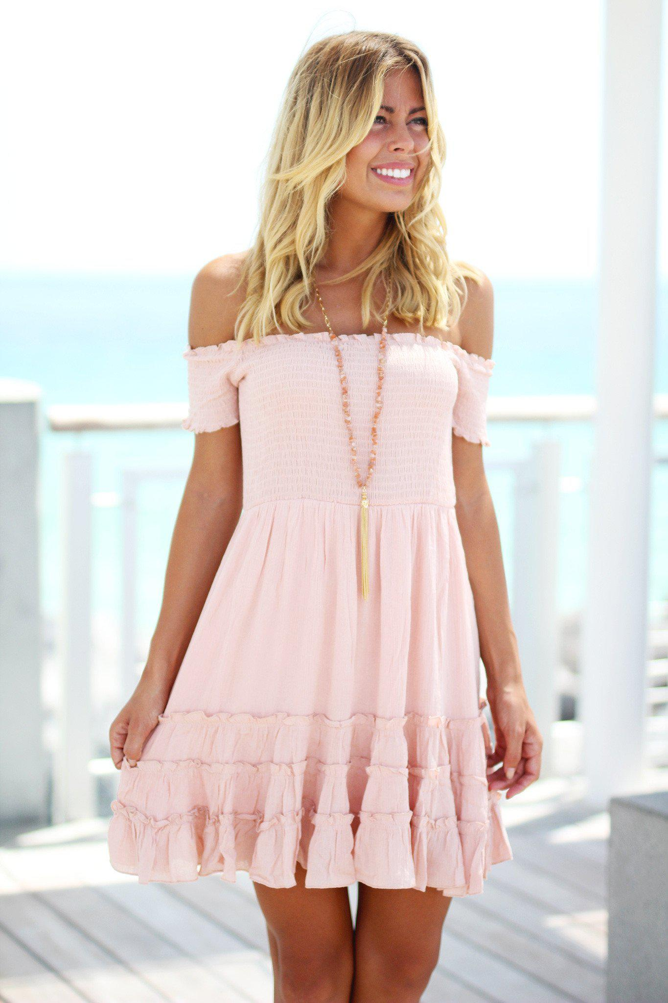 Pink Off Shoulder Short Dress