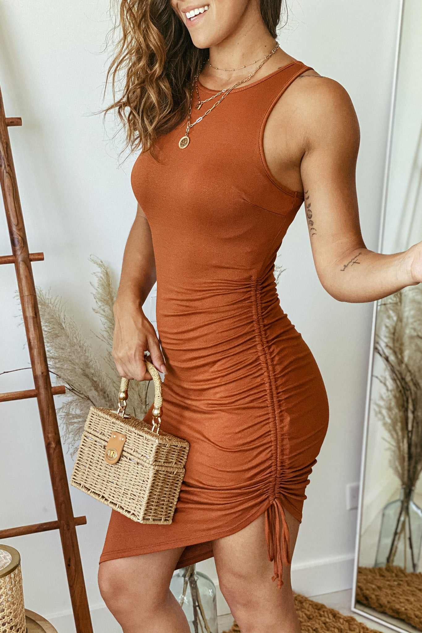 rust asymmetrical short dress with ruched sides