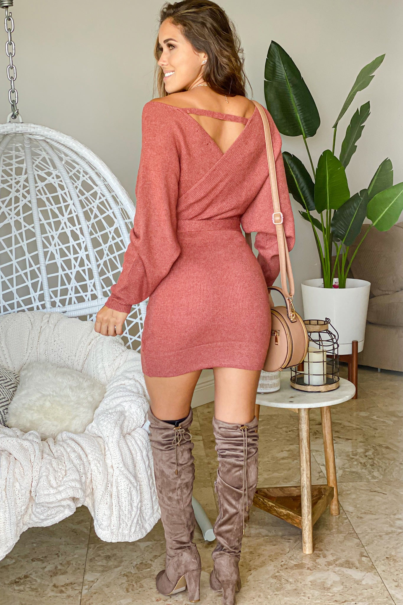 rust dolman sweater dress