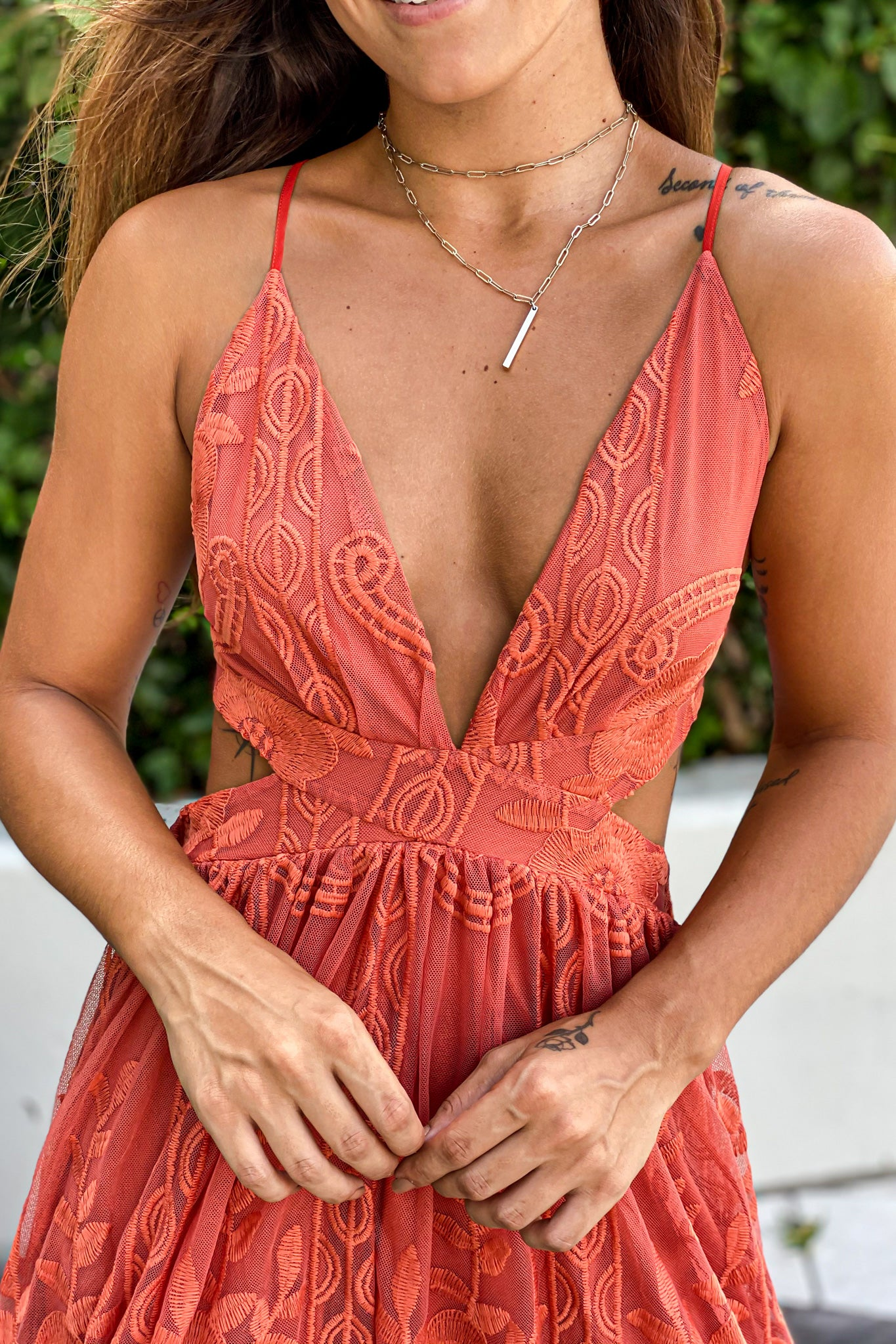 rust lace cute maxi dress