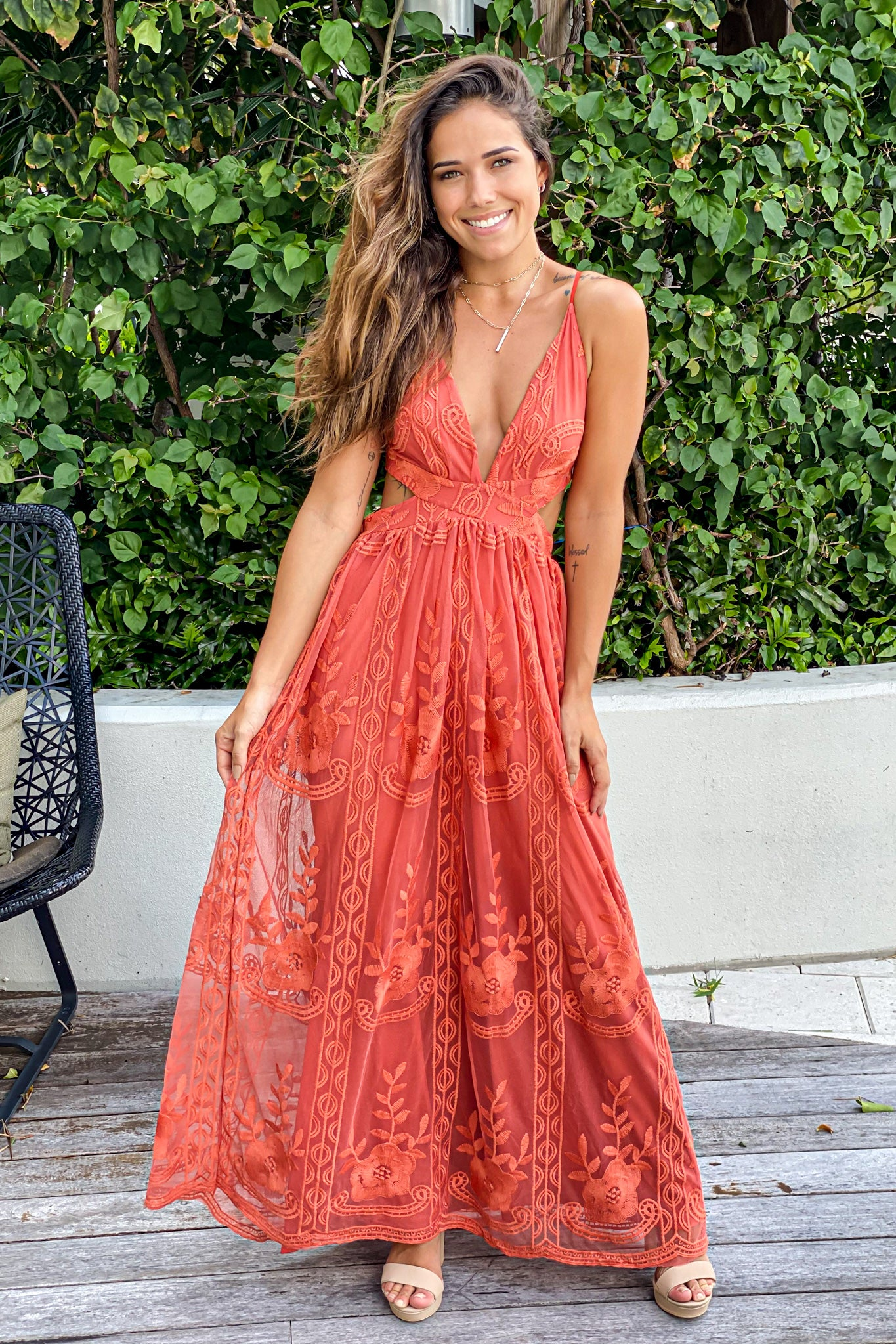 rust lace maxi dress with cutouts