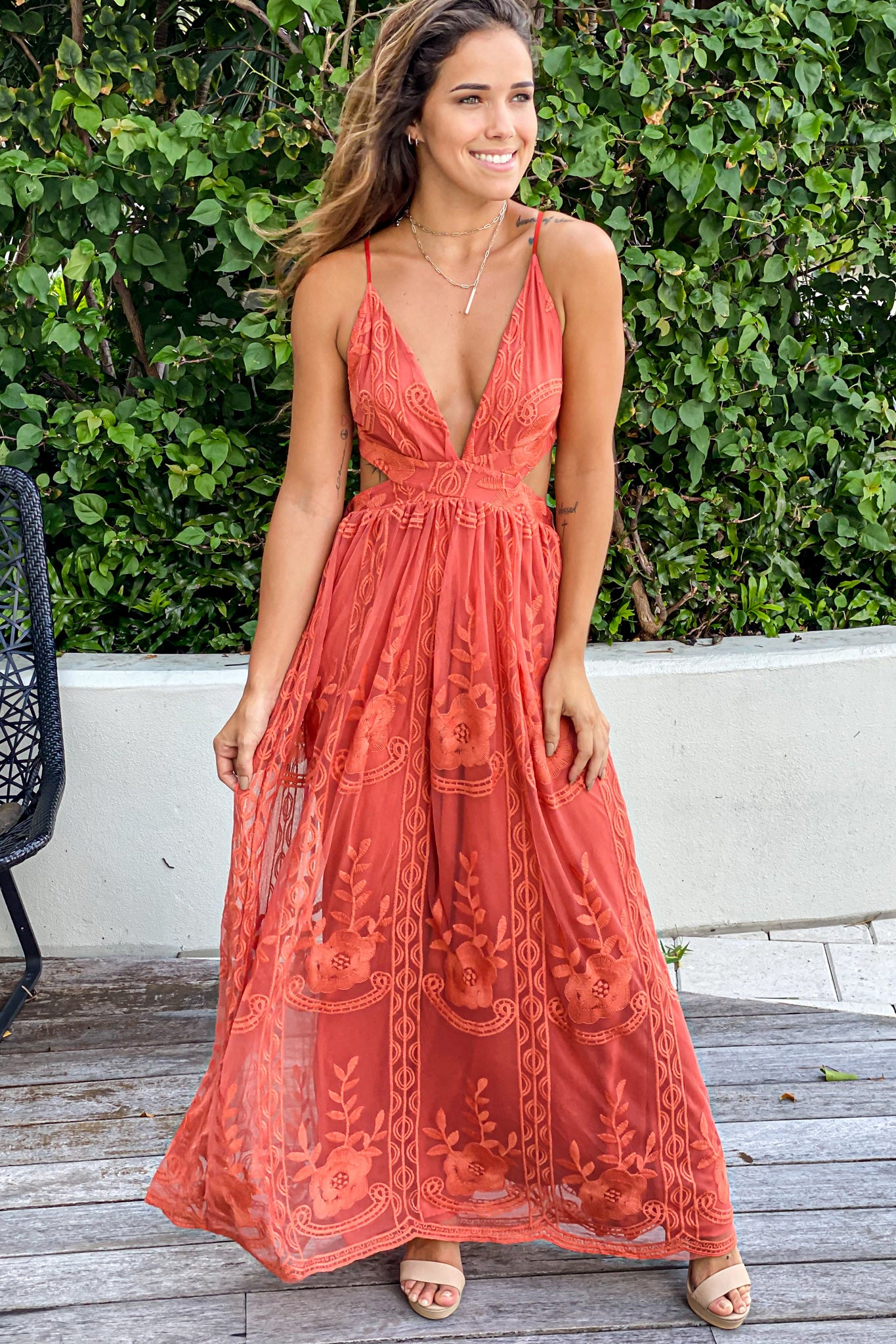 rust lace prom dress