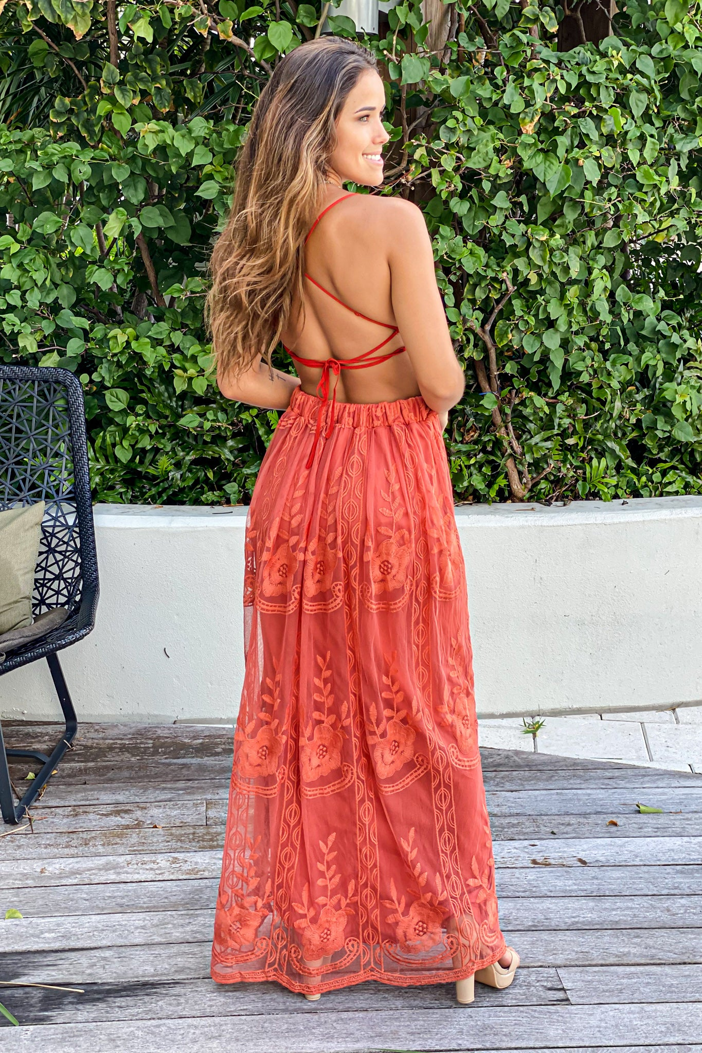 rust lace wedding guest dress