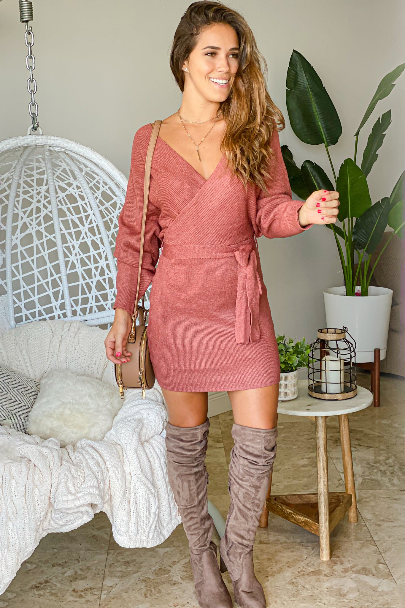 rust sweater short dress