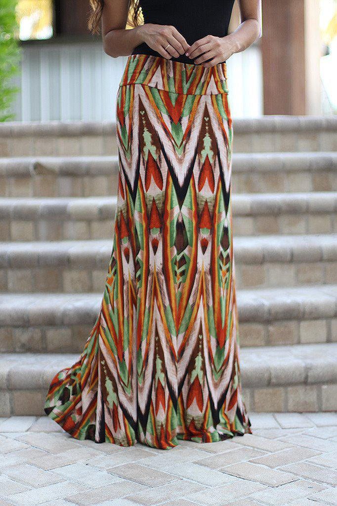 Rust Printed Maxi Skirt