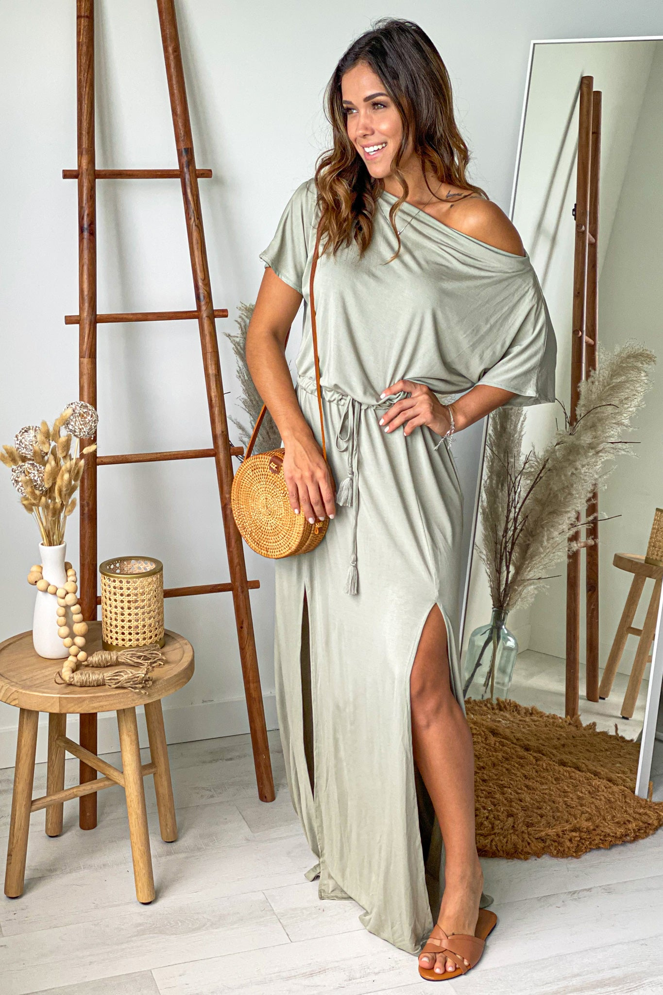 sage casual maxi dress