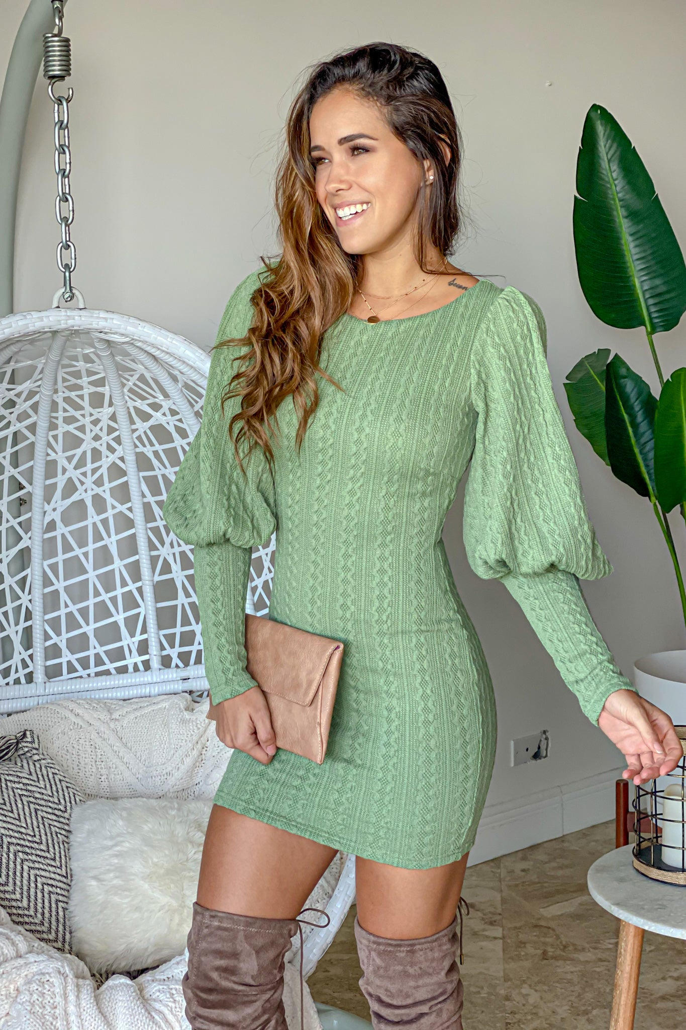 sage casual short dress