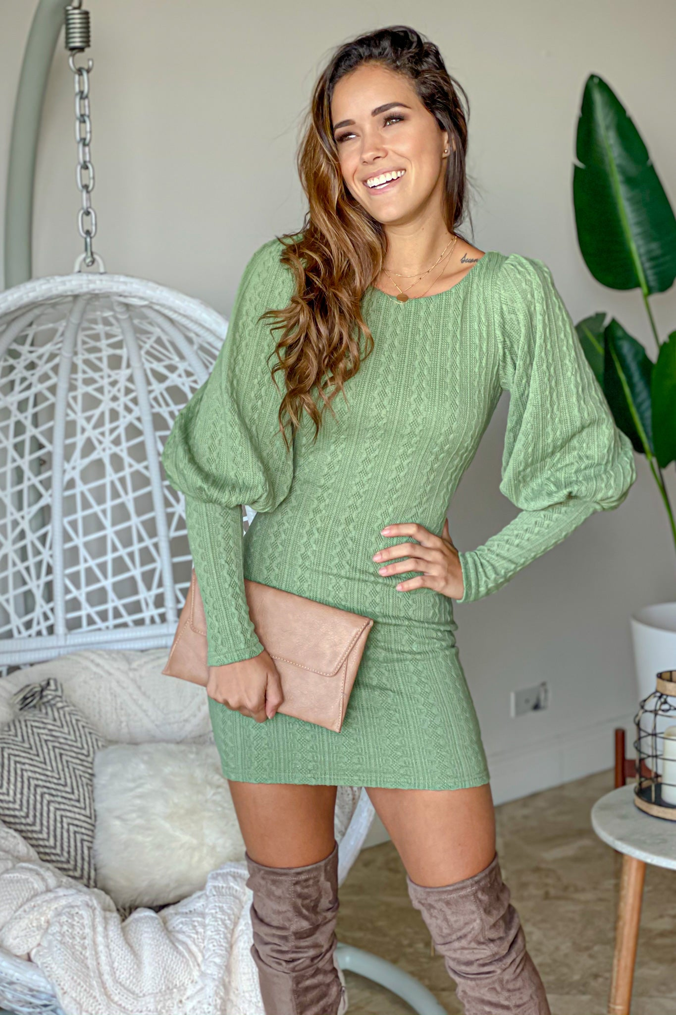 sage knit short dress