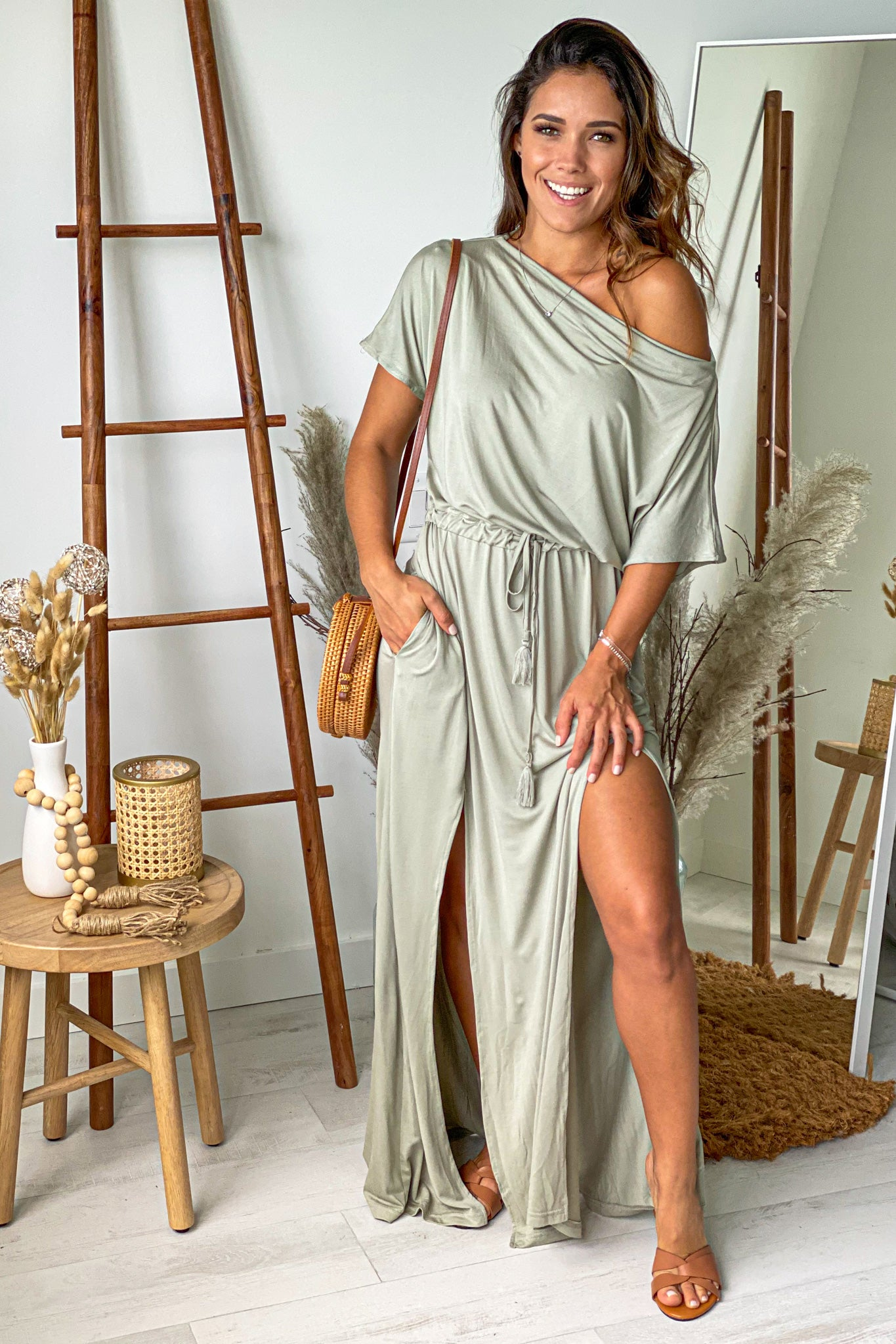 sage maxi dress with slit