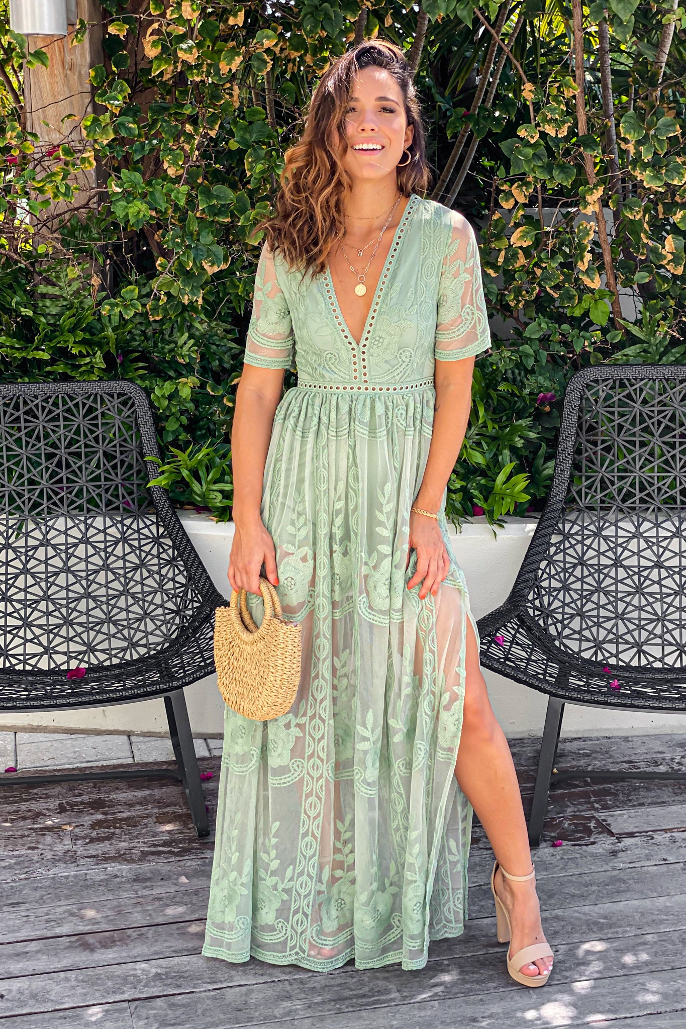 sage maxi romper with slit