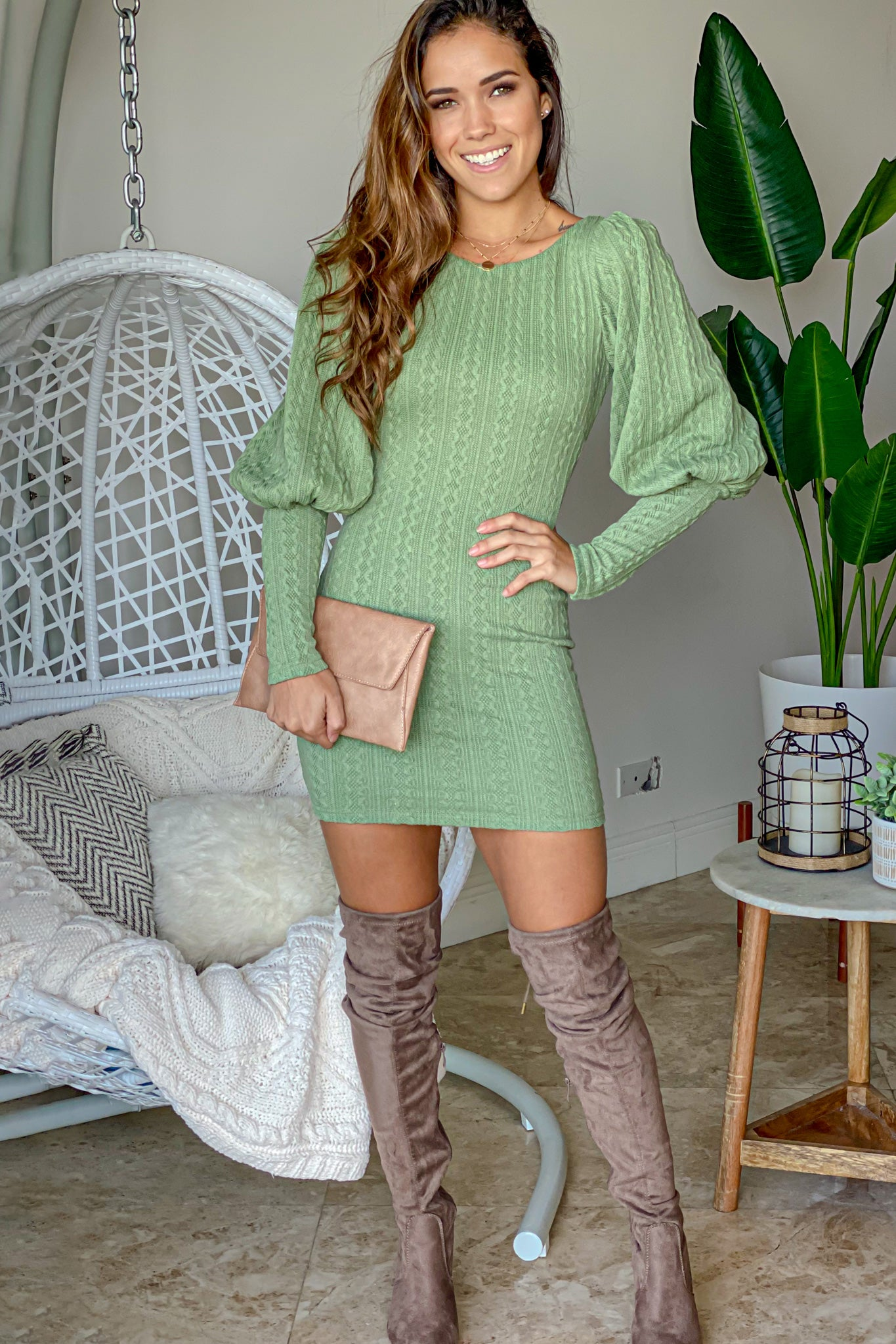 sage puff sleeve short dress